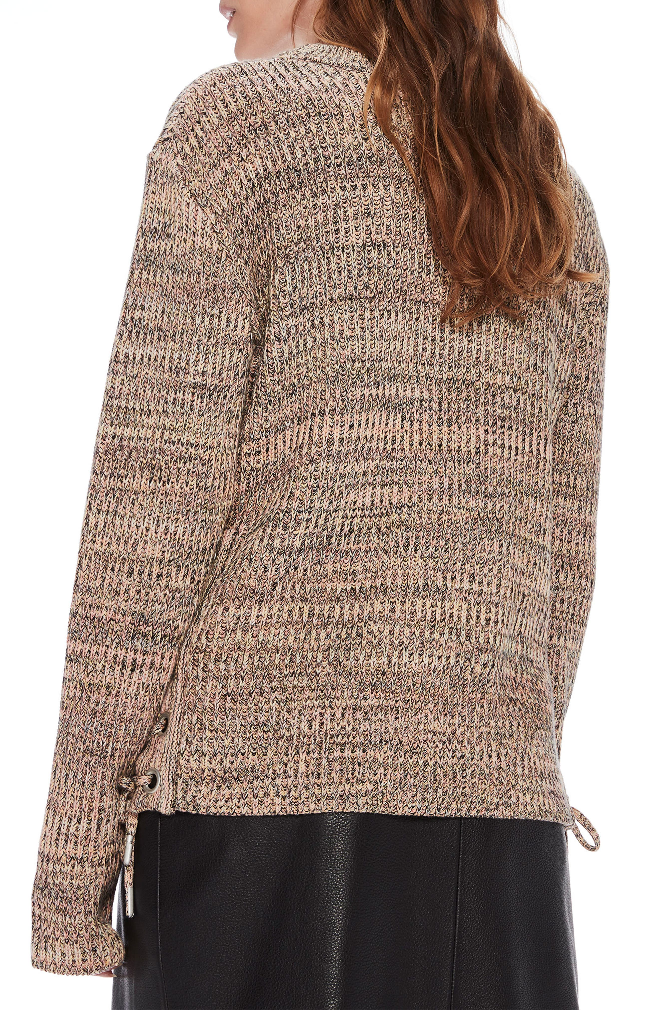Ribbed Lace-Up Side Sweater,                             Alternate thumbnail 3, color,                             Combo B