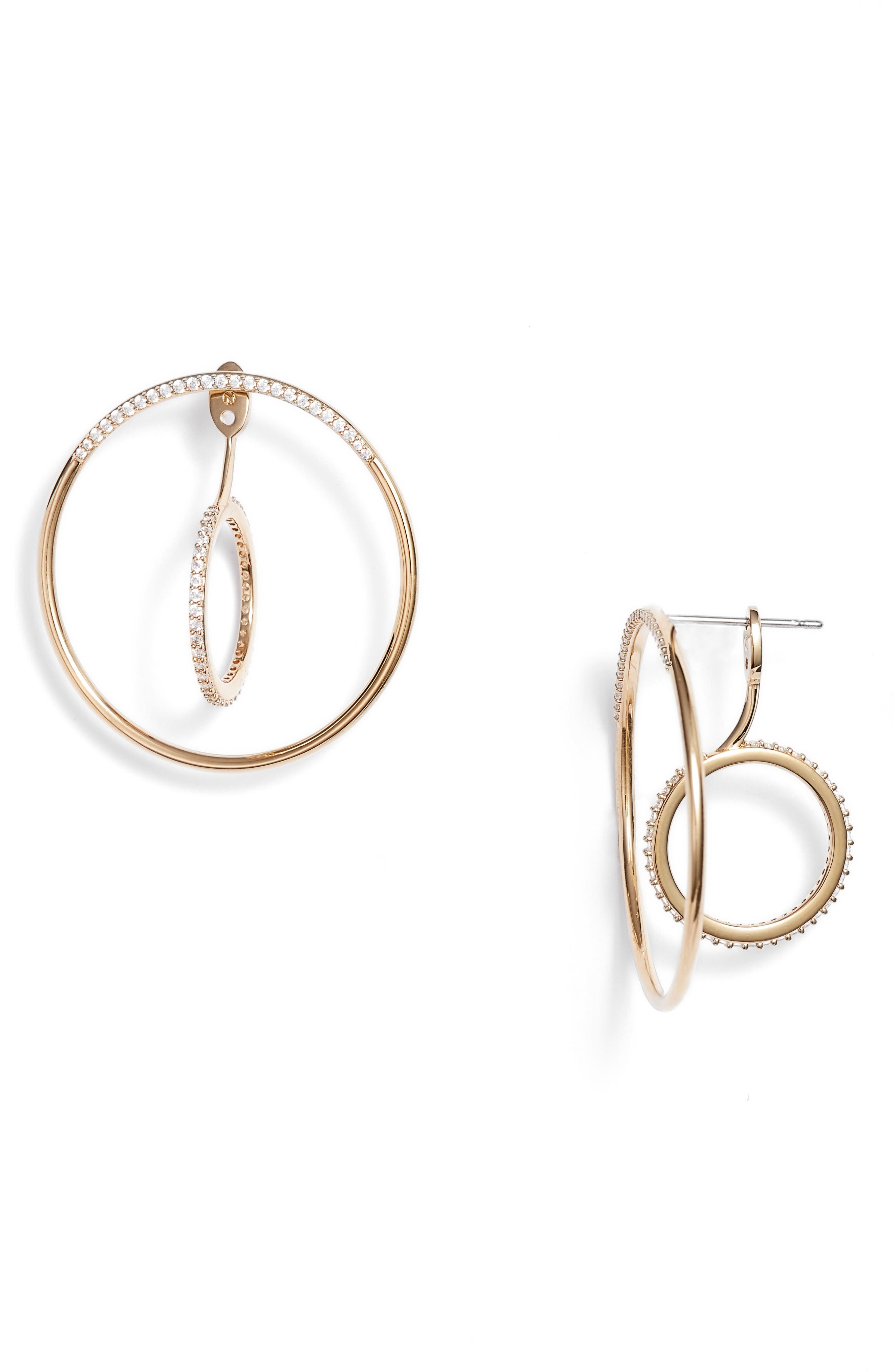 Intersecting Hoop Ear Jackets,                             Main thumbnail 1, color,                             Gold/ Clear