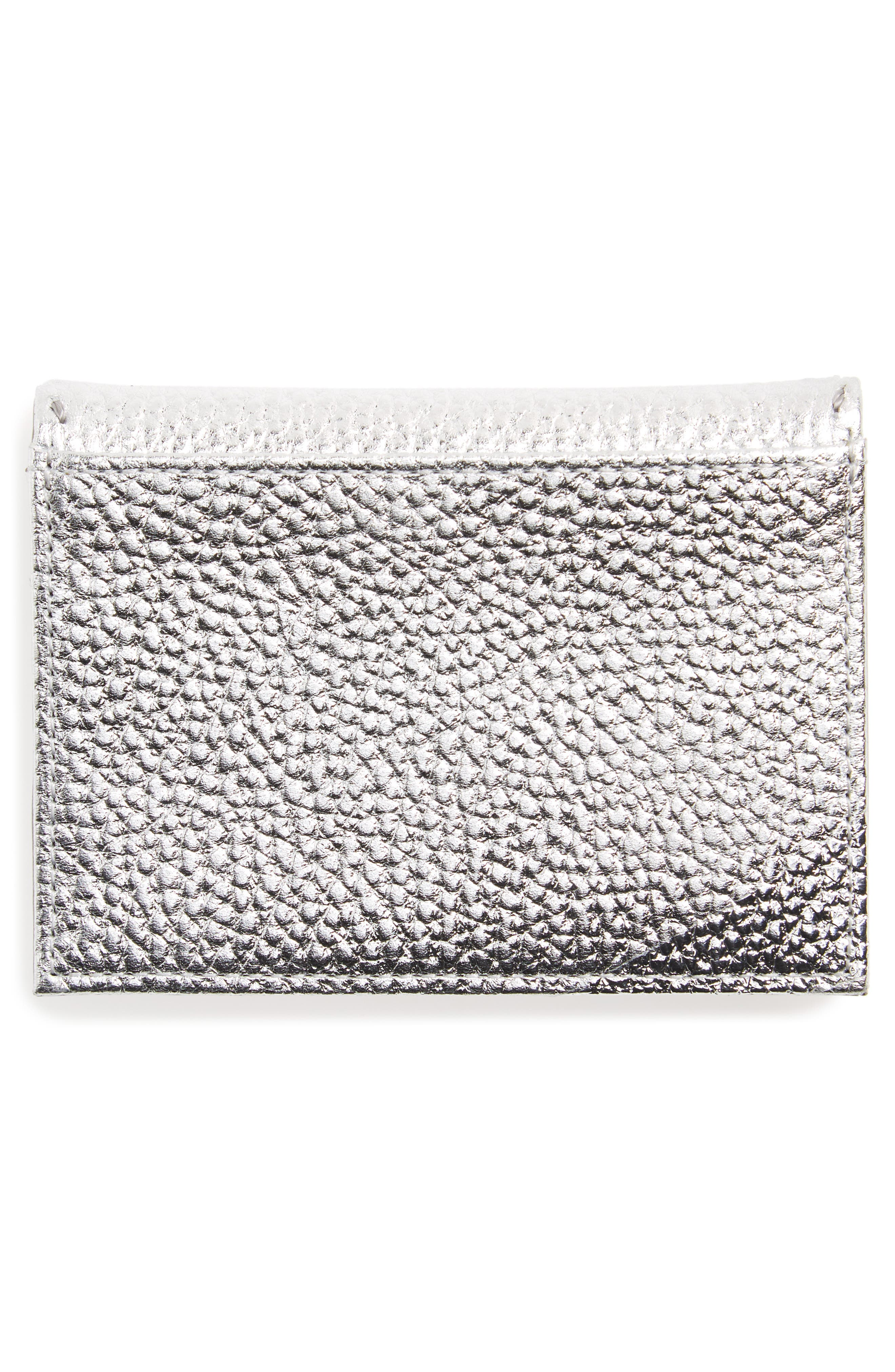 Hermina Leather Card Case,                             Alternate thumbnail 2, color,                             Silver