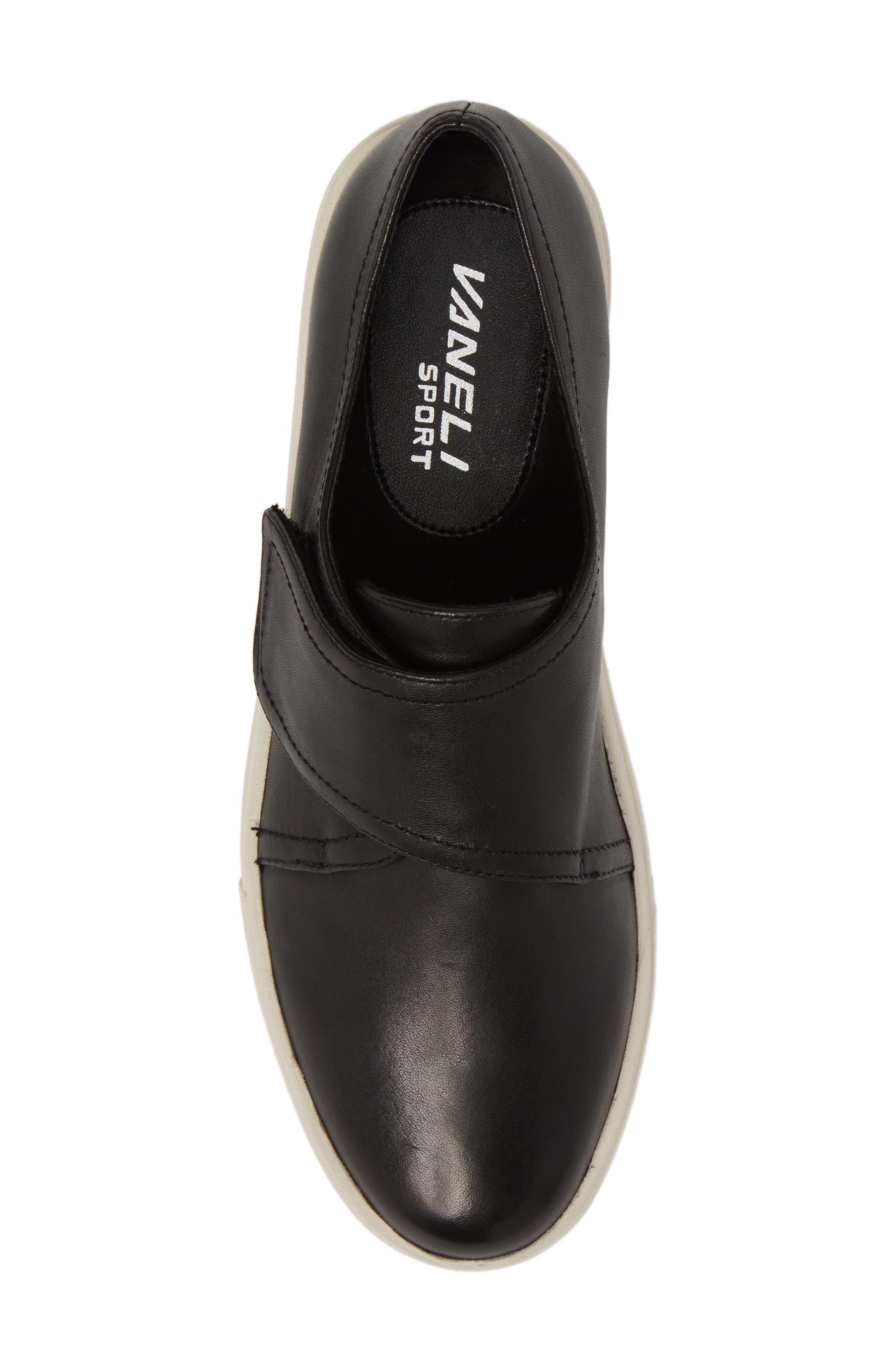 Oberon Slip-On Sneaker,                             Alternate thumbnail 5, color,                             Black Leather