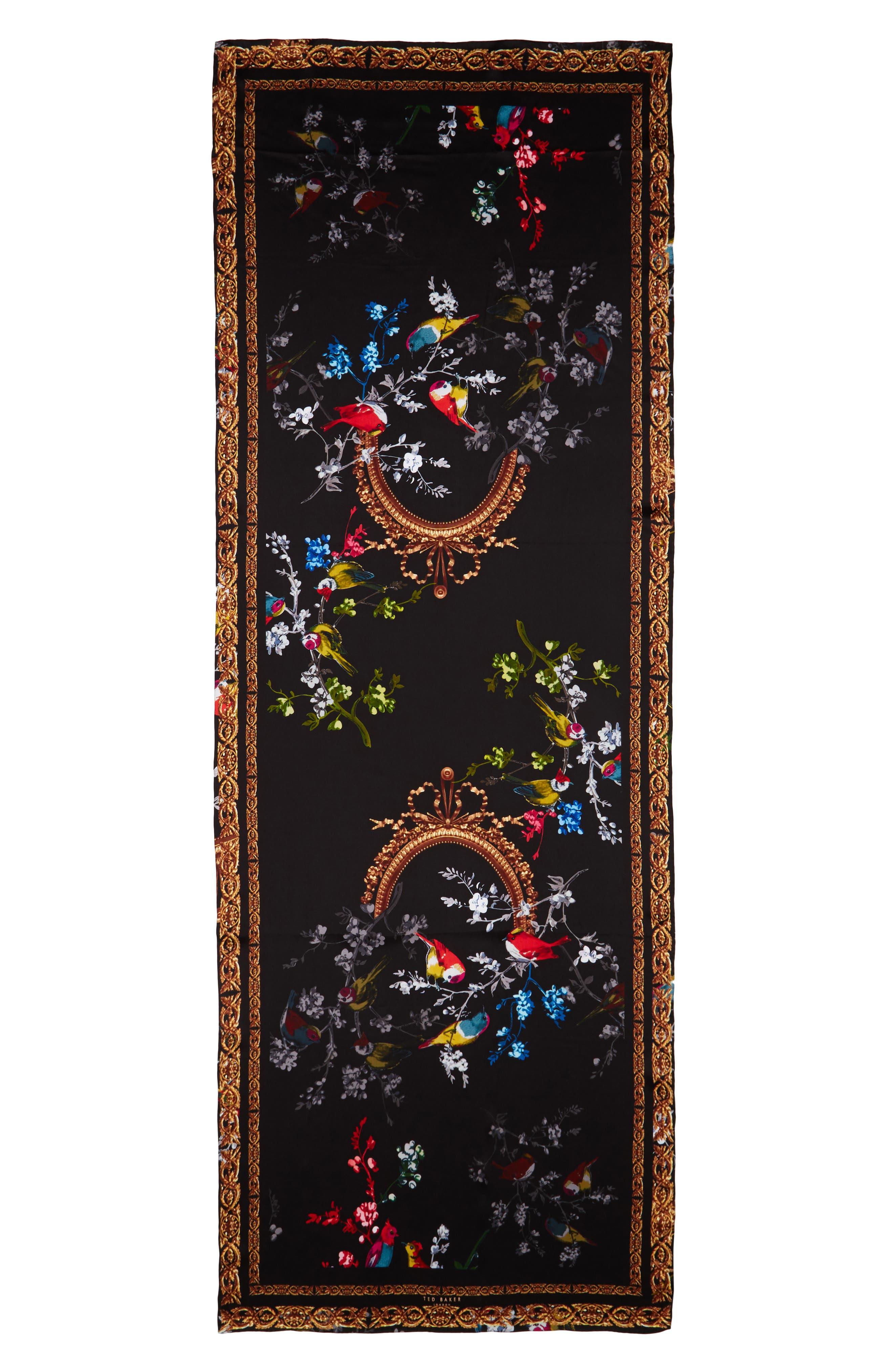 Opulent Fauna Silk Scarf,                             Alternate thumbnail 2, color,                             Black