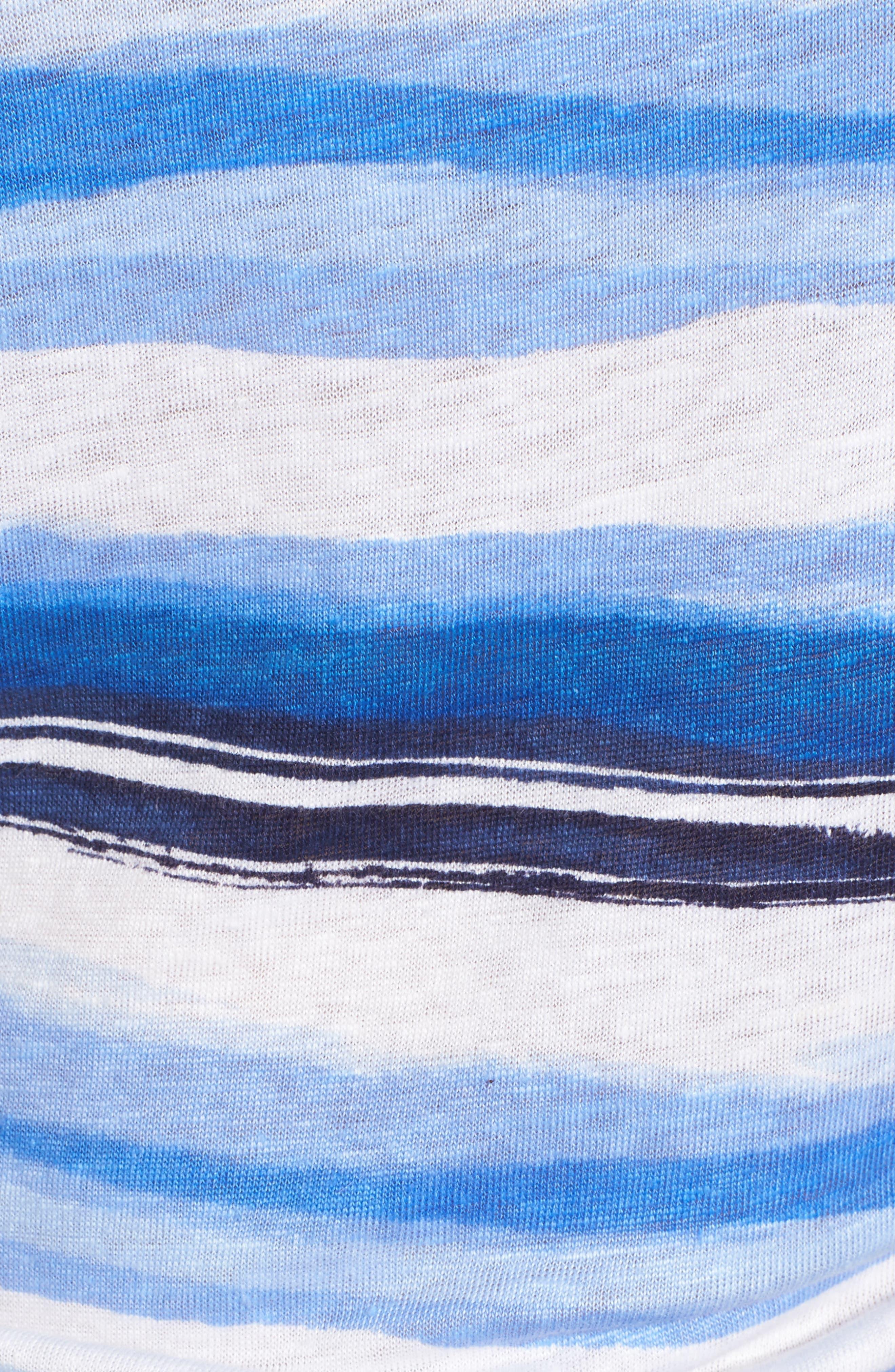 Hazy Horizons Cold Shoulder Linen Top,                             Alternate thumbnail 5, color,                             Ocean Deep