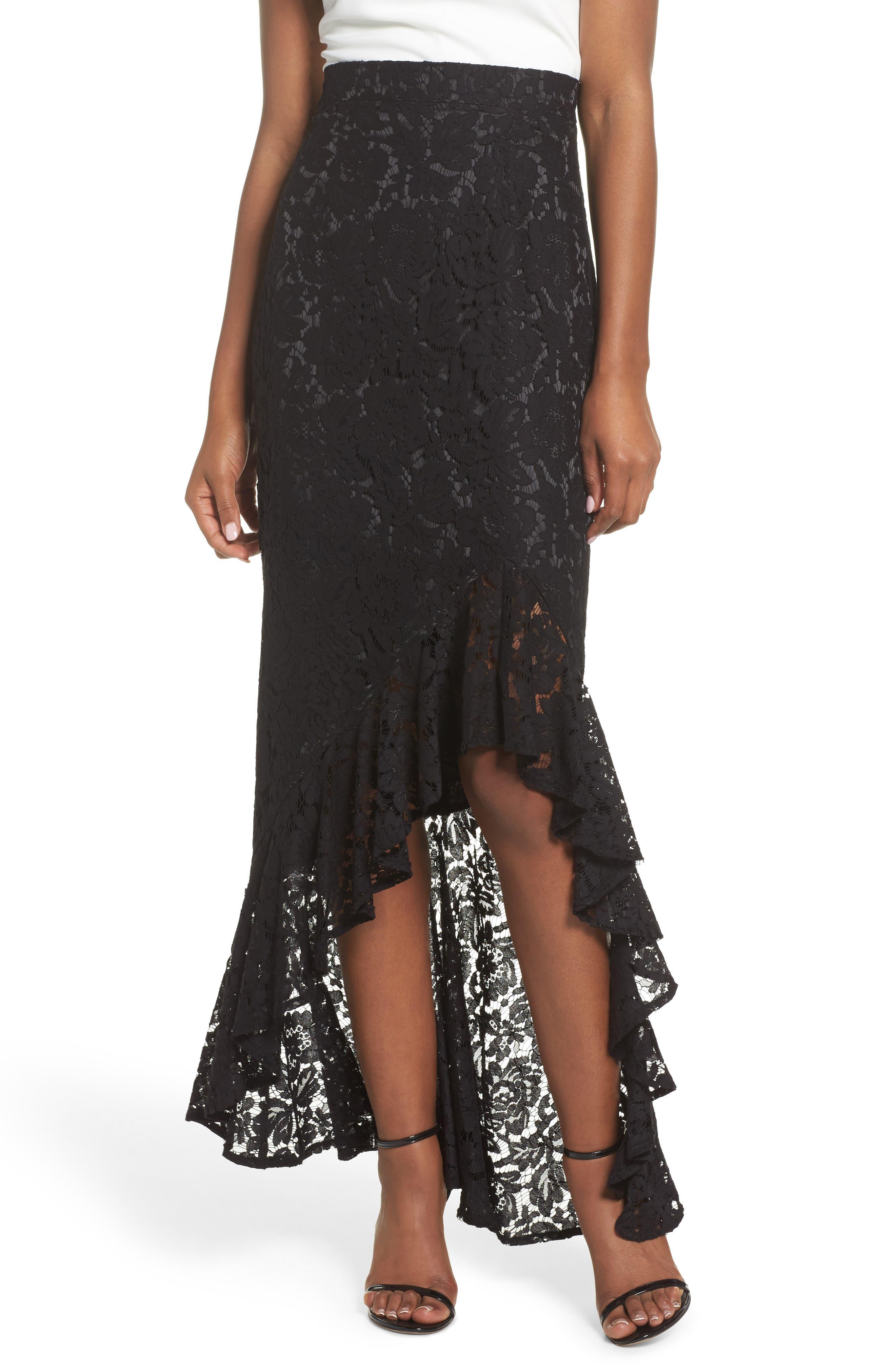 Eliza J High/Low Ruffle Lace Skirt
