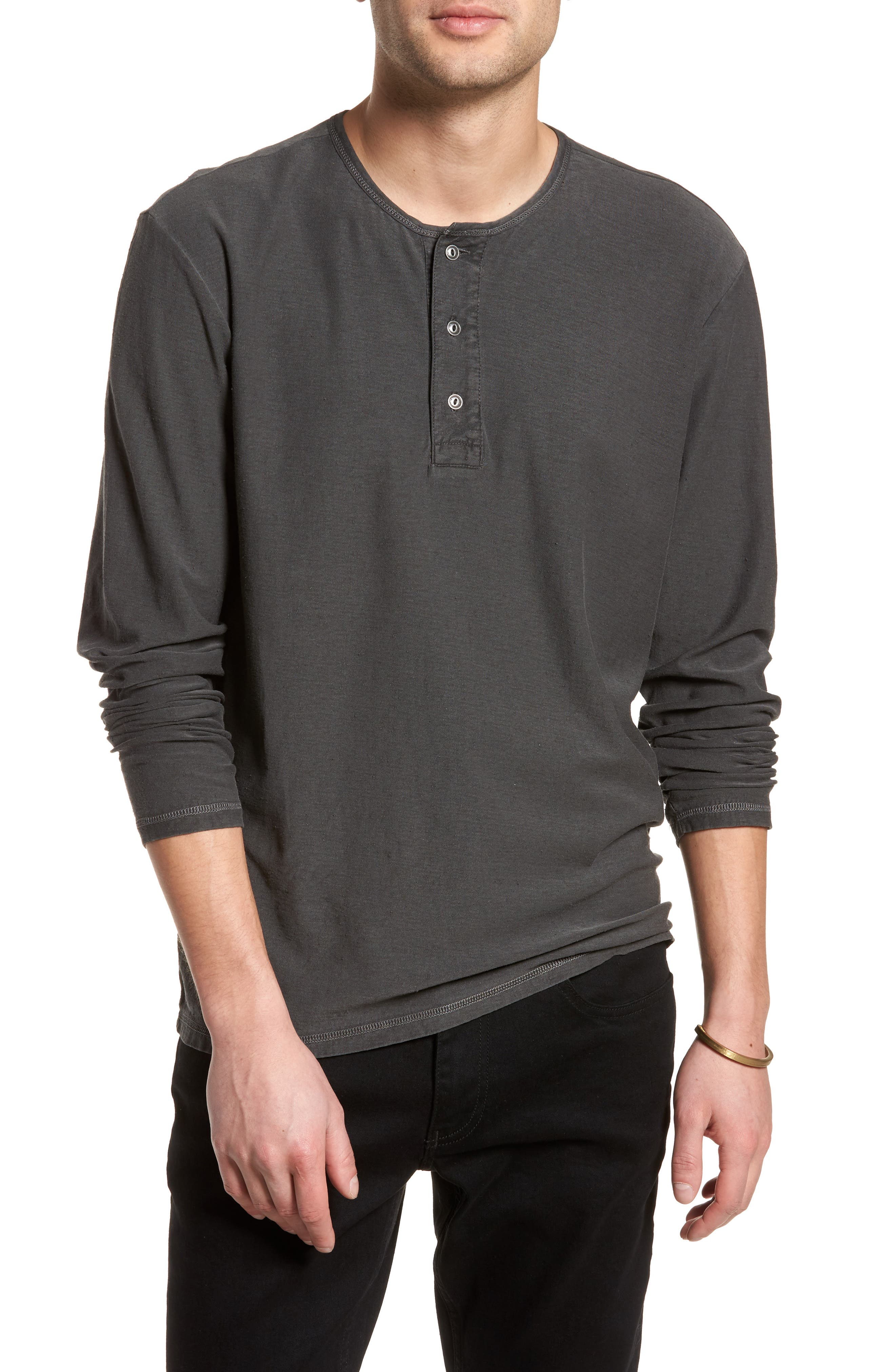 Cotton Henley,                         Main,                         color, Black