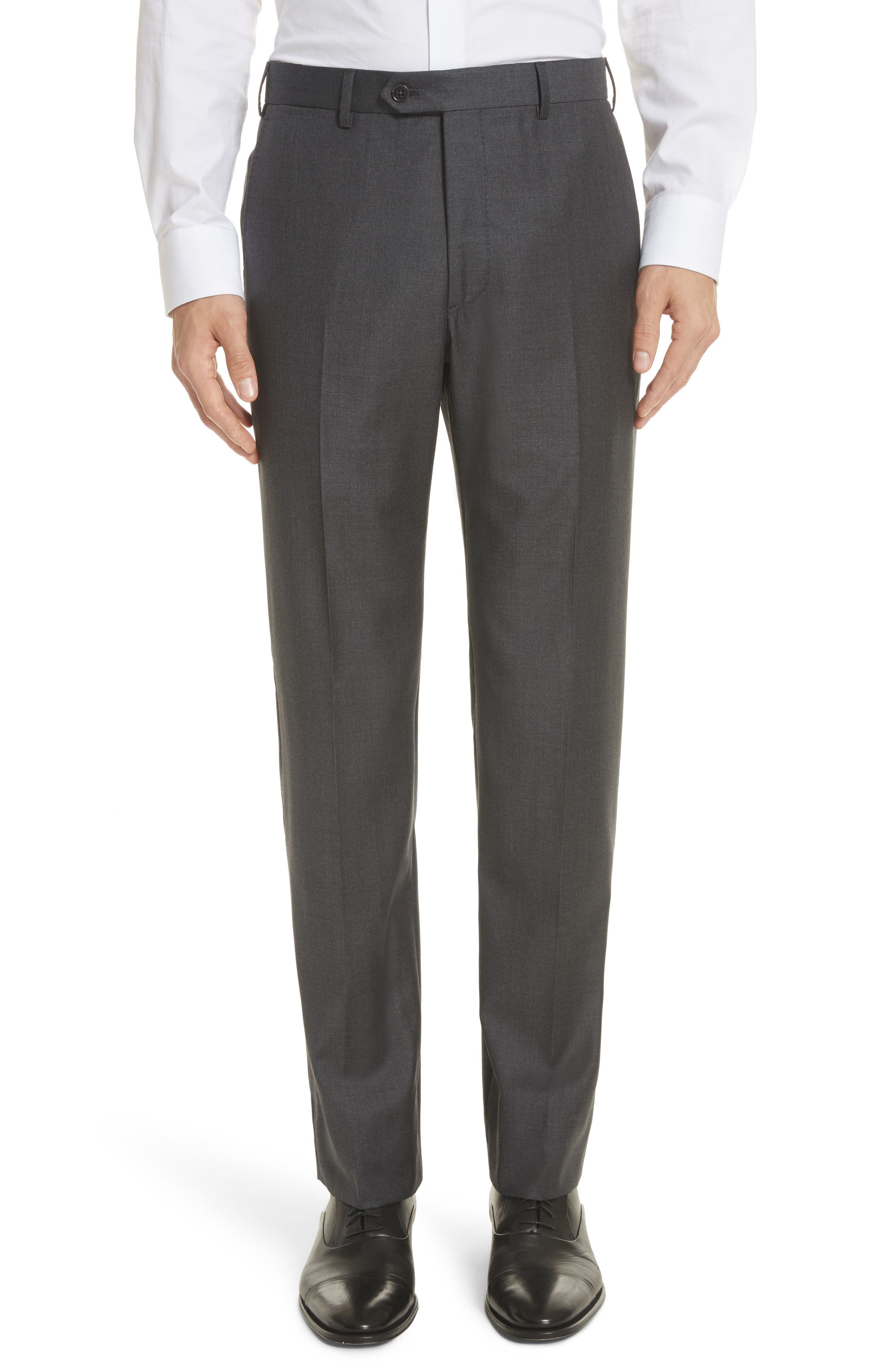 Trim Fit Solid Wool Suit,                             Alternate thumbnail 6, color,                             Grey