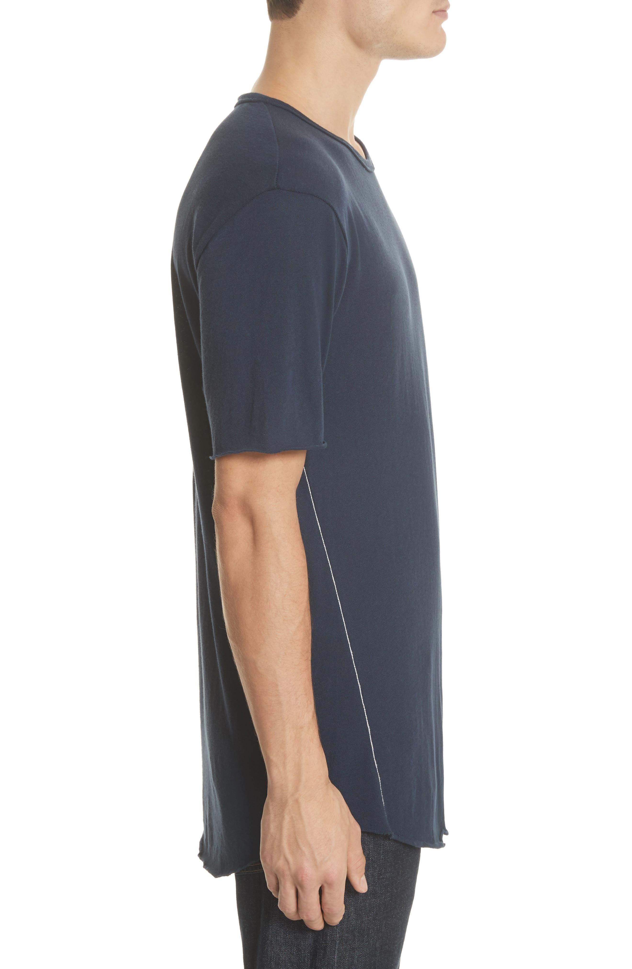 Hartley Crewneck Cotton & Linen T-Shirt,                             Alternate thumbnail 3, color,                             Navy