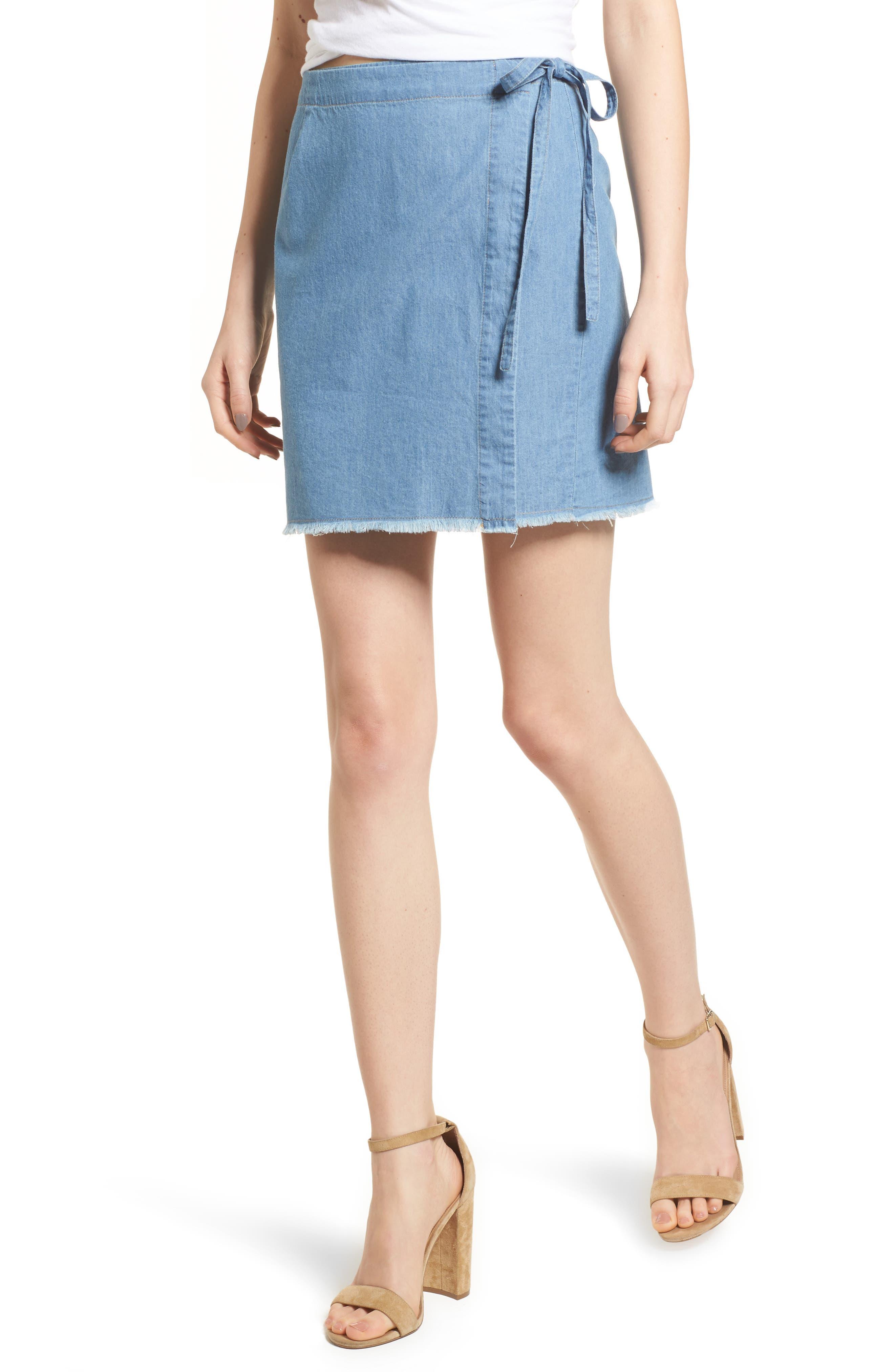 Main Image - Mimi Chica Chambray Wrap Skirt