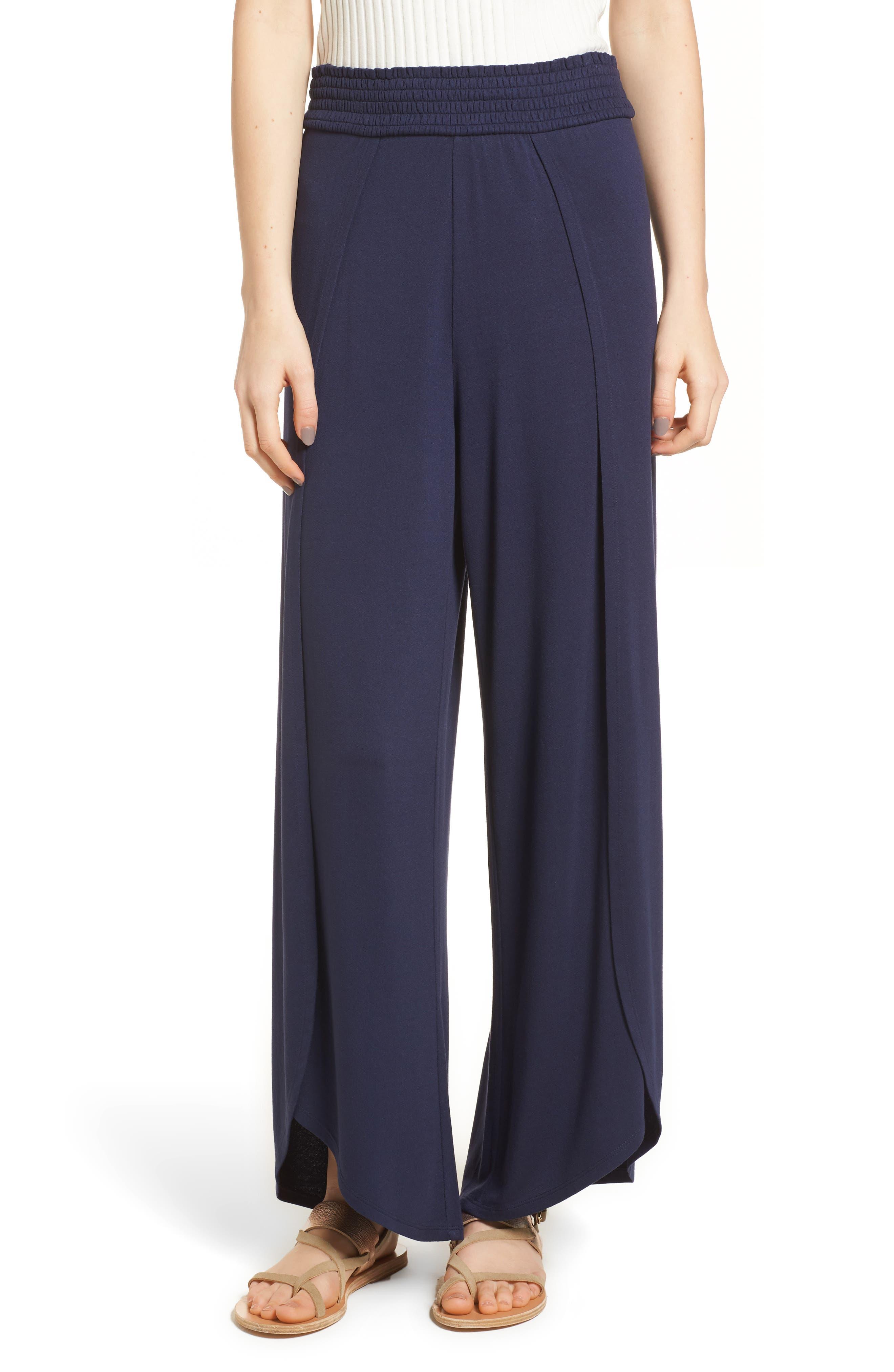 Knit Tulip Hem Pants,                         Main,                         color, Navy Peacoat