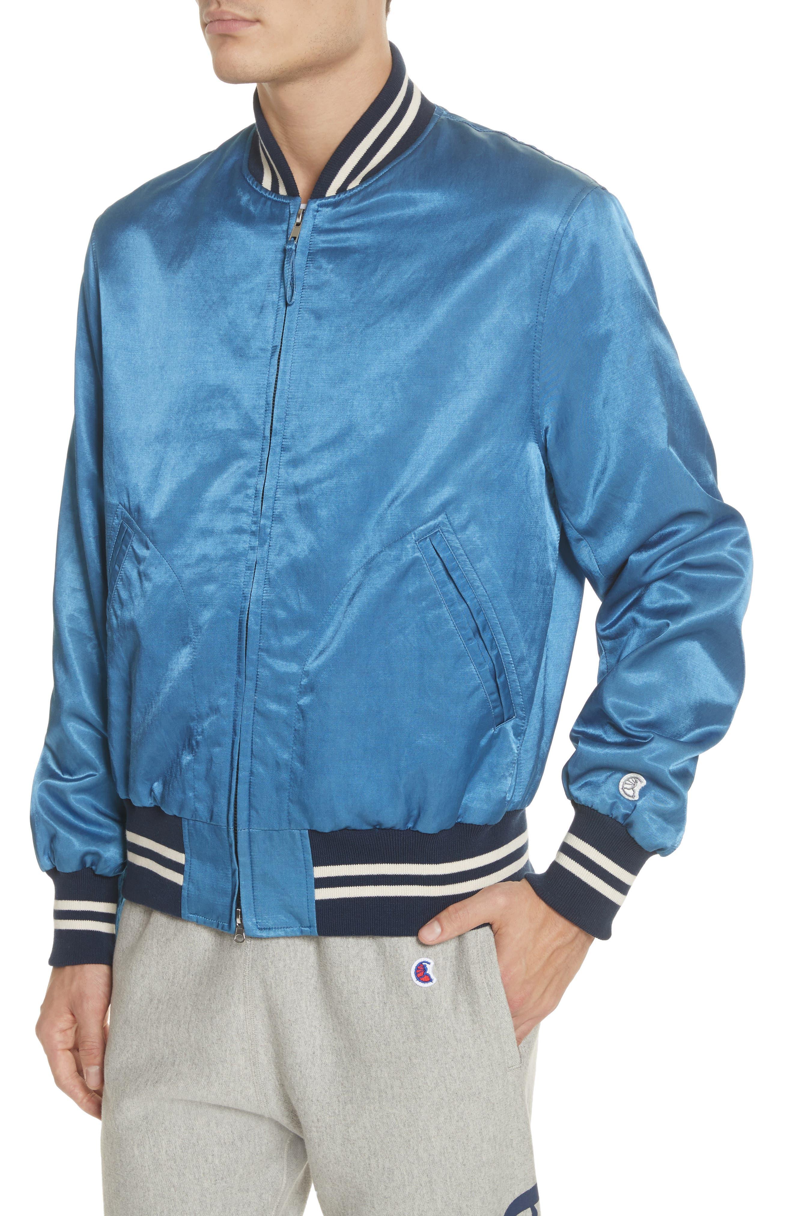 + Champion Bomber Jacket,                             Alternate thumbnail 4, color,                             Indigo