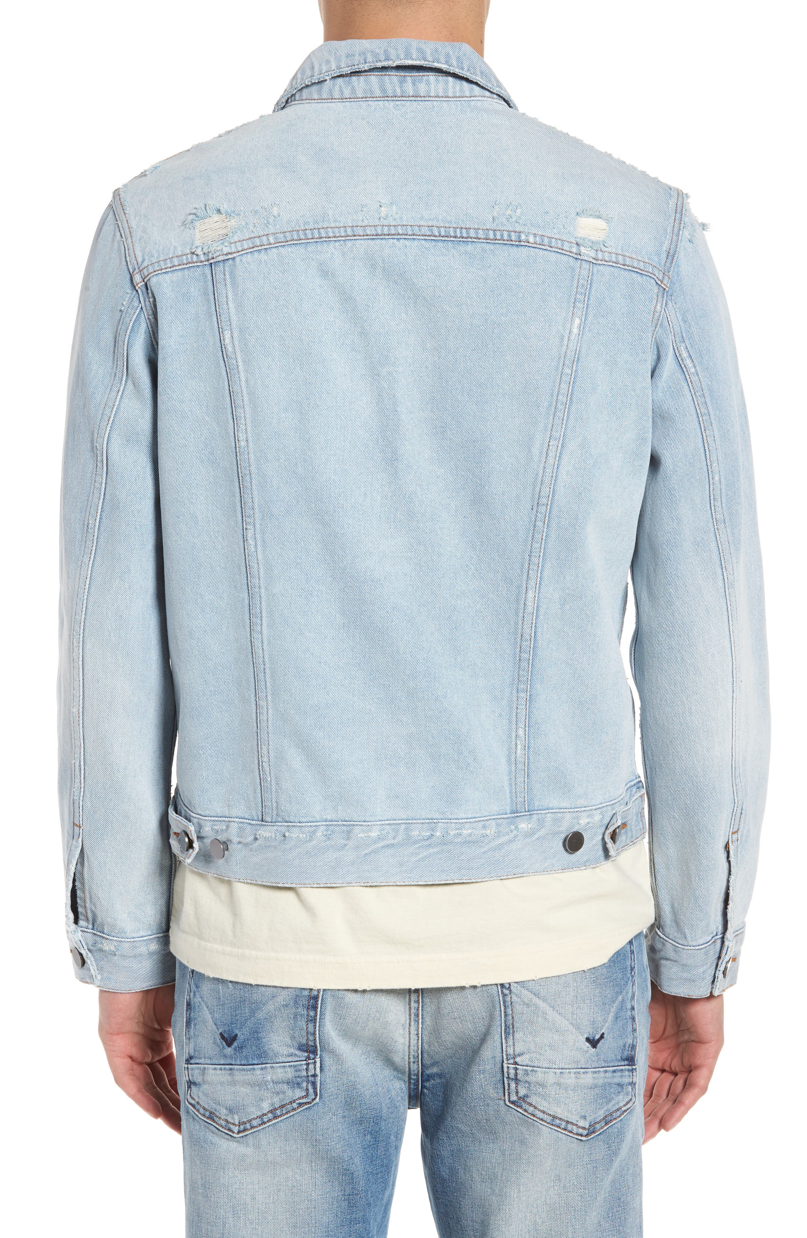 Destroyed Trucker Jacket,                             Alternate thumbnail 2, color,                             Light Blue Wash