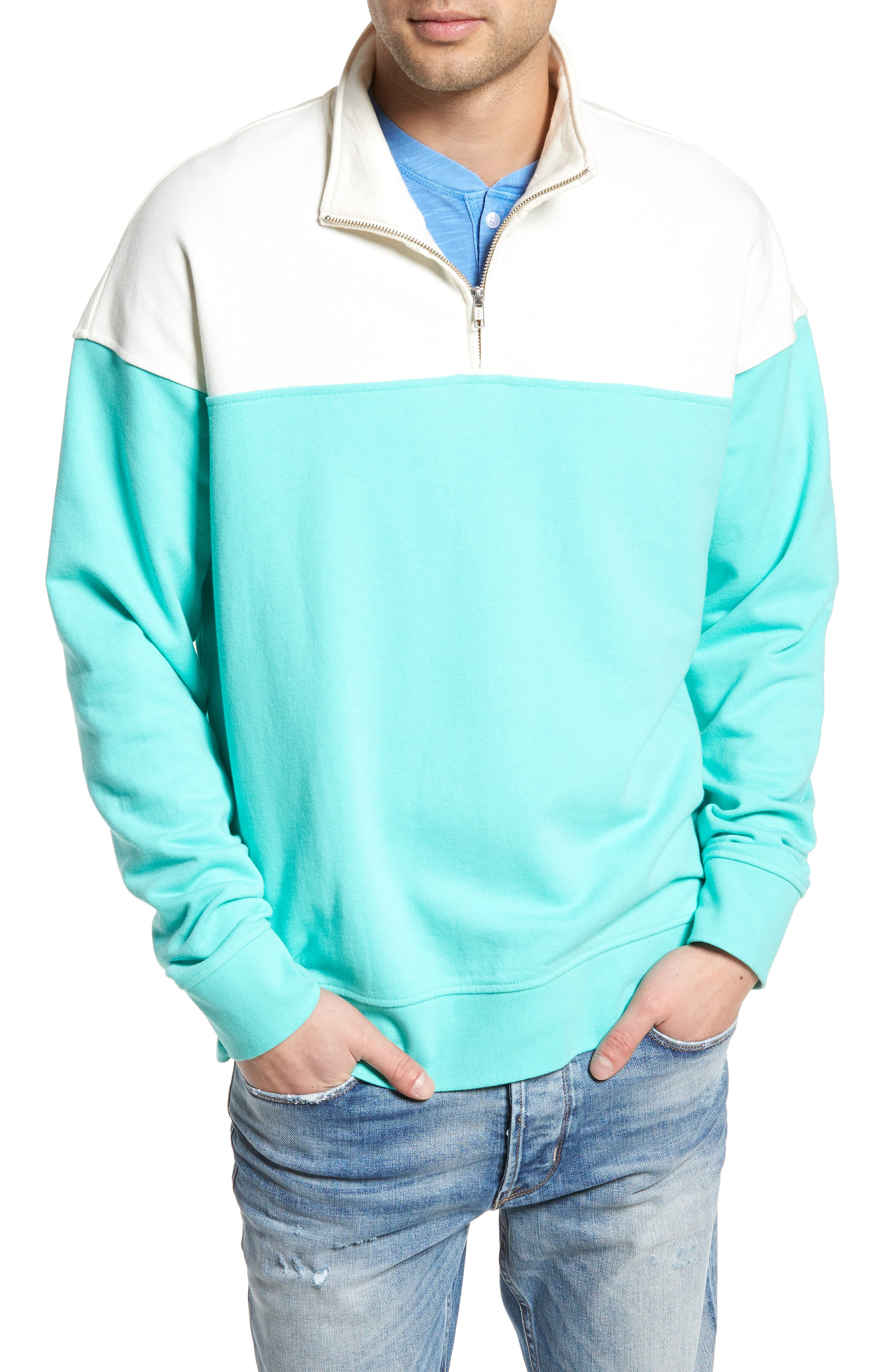 Colorblock Quarter Zip Sweatshirt,                             Main thumbnail 1, color,                             Ivory Egret/ Green Largo