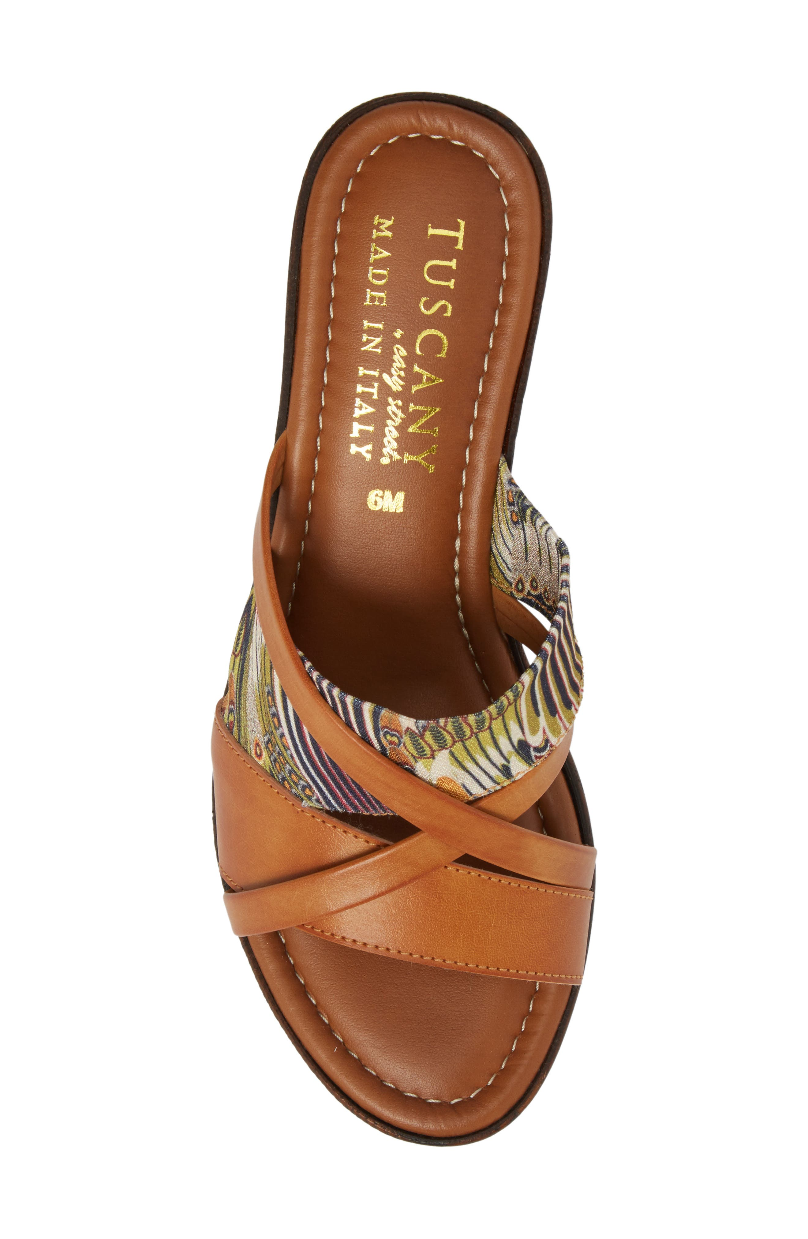 by East Street<sup>®</sup> Lucette Strappy Wedge Mule,                             Alternate thumbnail 5, color,                             Natural/ Feather Faux Leather