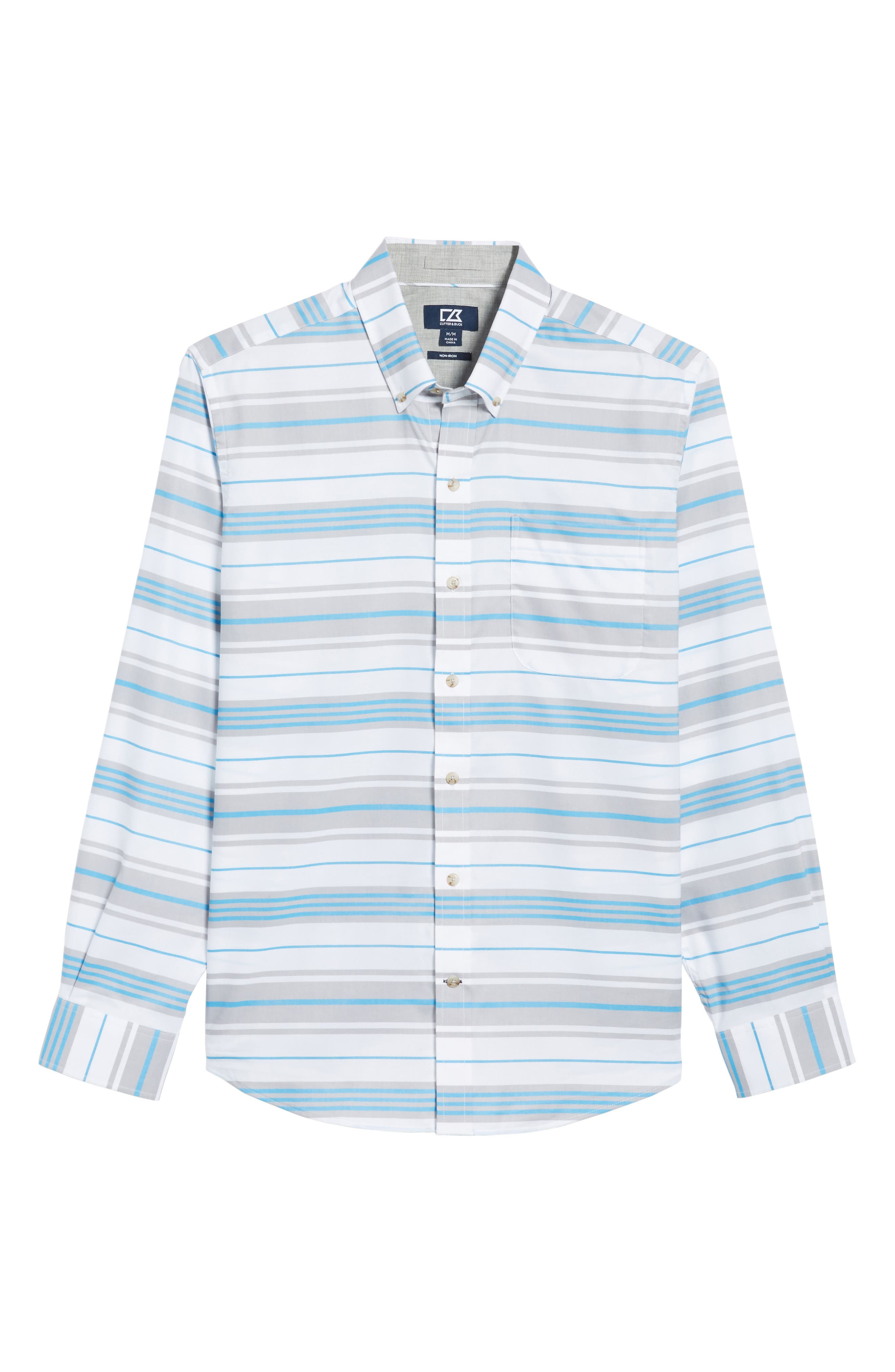 Parker Classic Fit Non-Iron Stripe Sport Shirt,                             Alternate thumbnail 6, color,                             Poolside