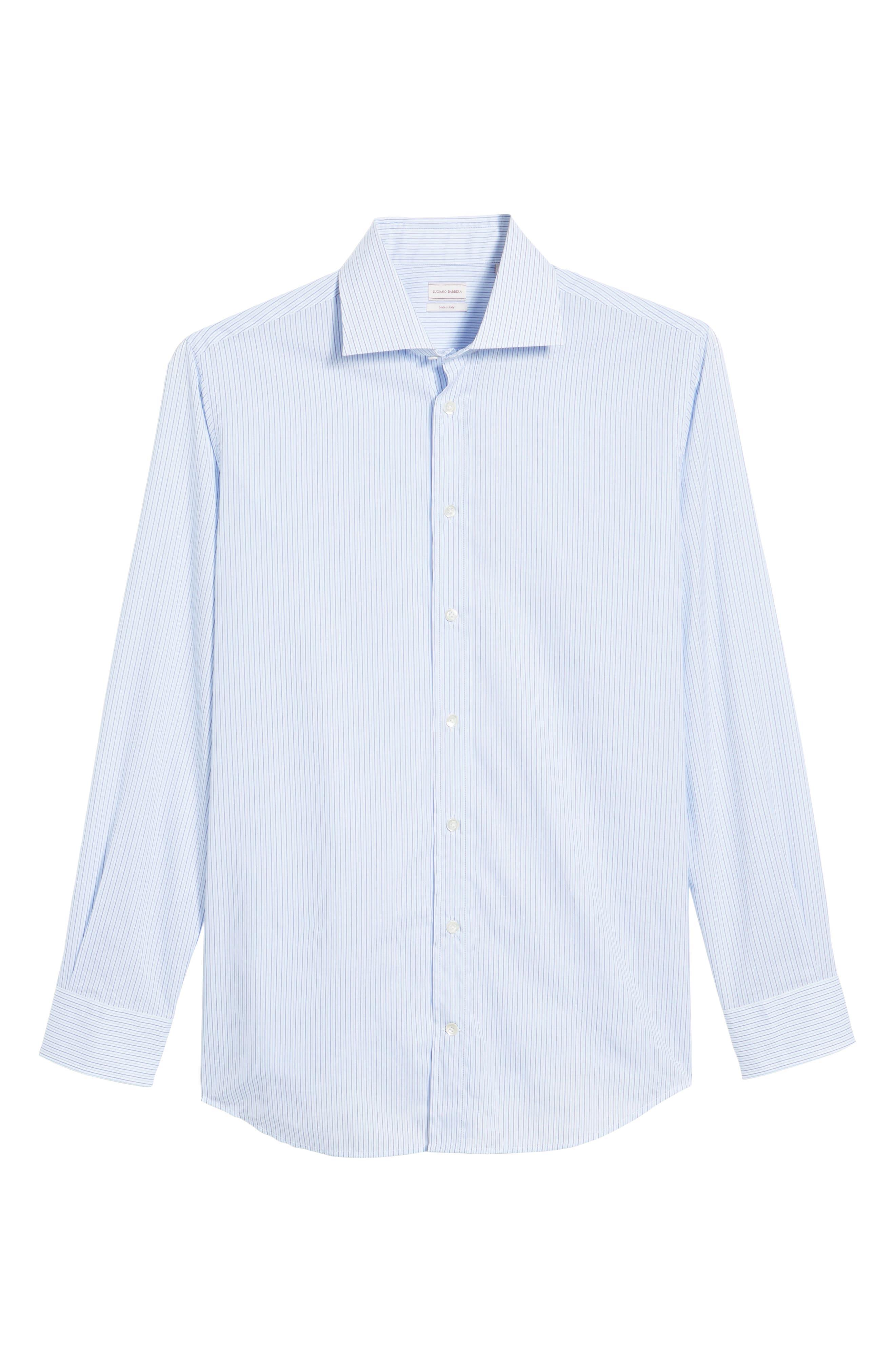 Trim Fit Stripe Sport Shirt,                             Alternate thumbnail 6, color,                             Navy