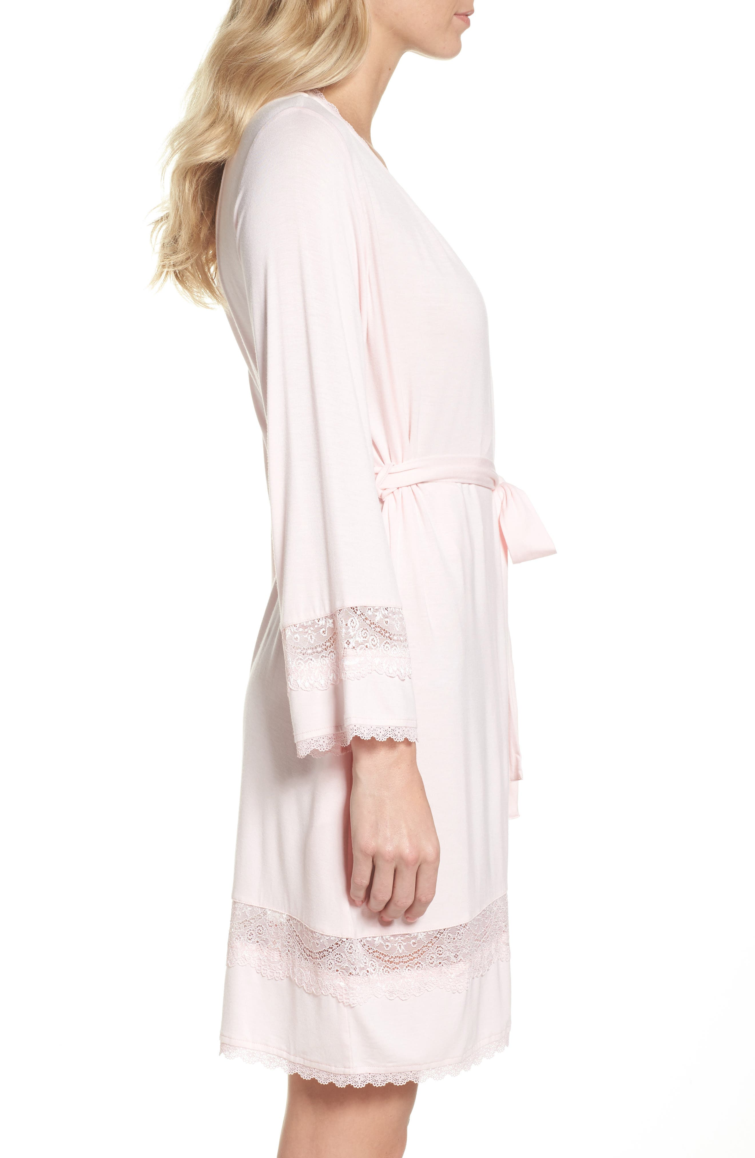 Cosima Embellished Robe,                             Alternate thumbnail 3, color,                             Seashell Pink