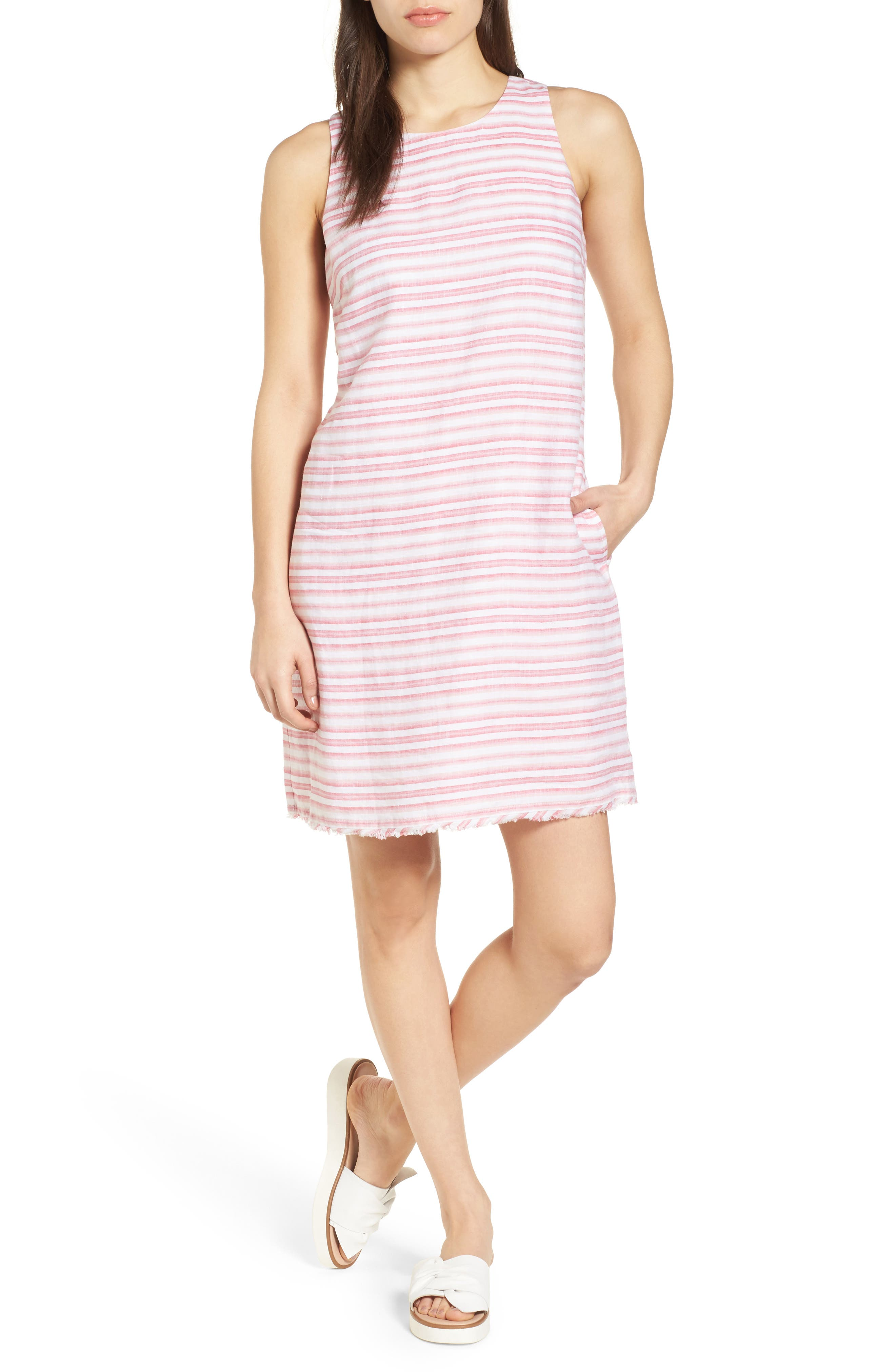 Bella Hermosa Linen Shift Dress,                         Main,                         color, French Rose
