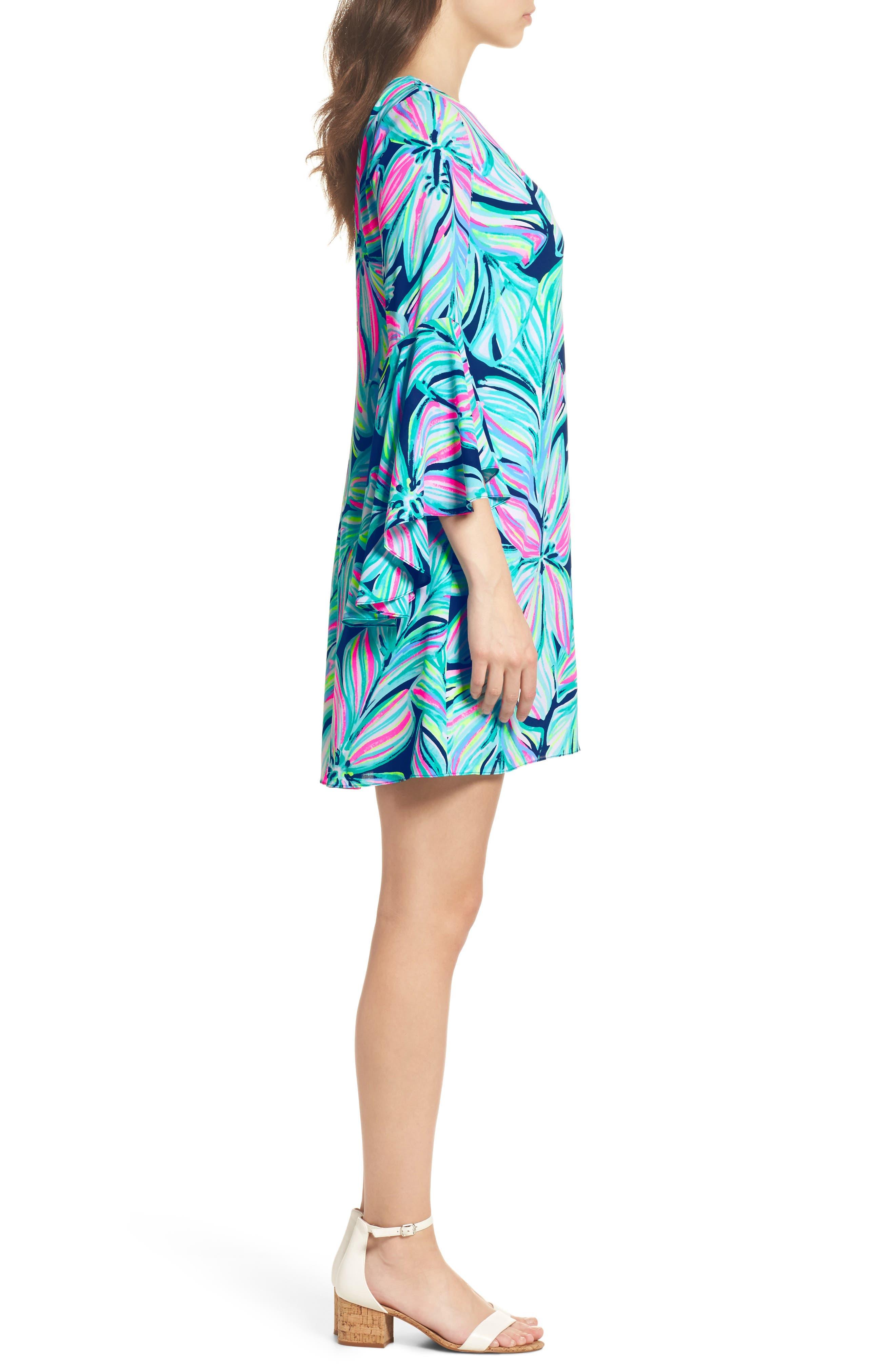 Rosalia Bell Sleeve A-Line Dress,                             Alternate thumbnail 3, color,                             High Tide Navy Dancing Lady