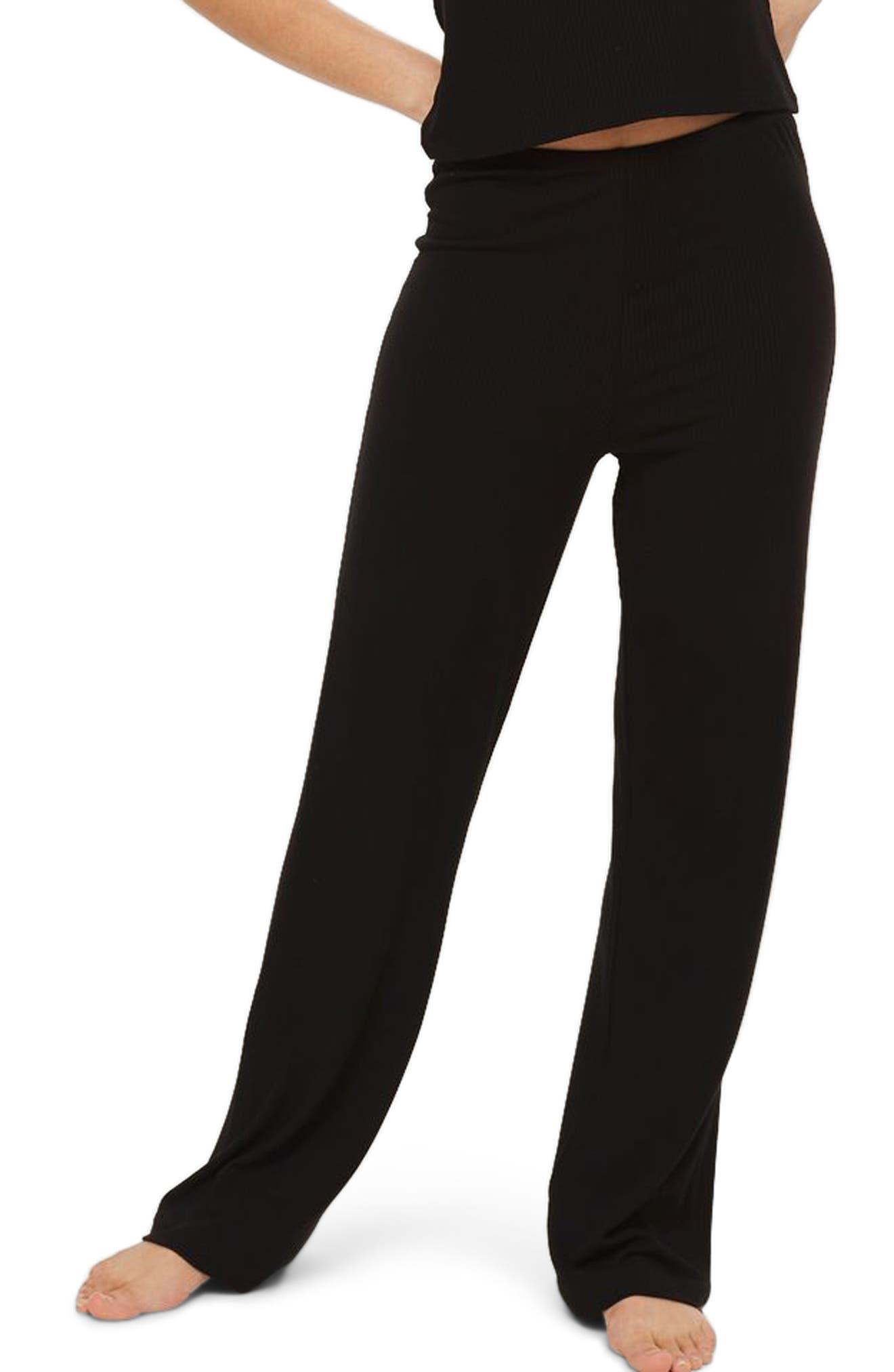 Ribbed Pajama Pants,                         Main,                         color, Black