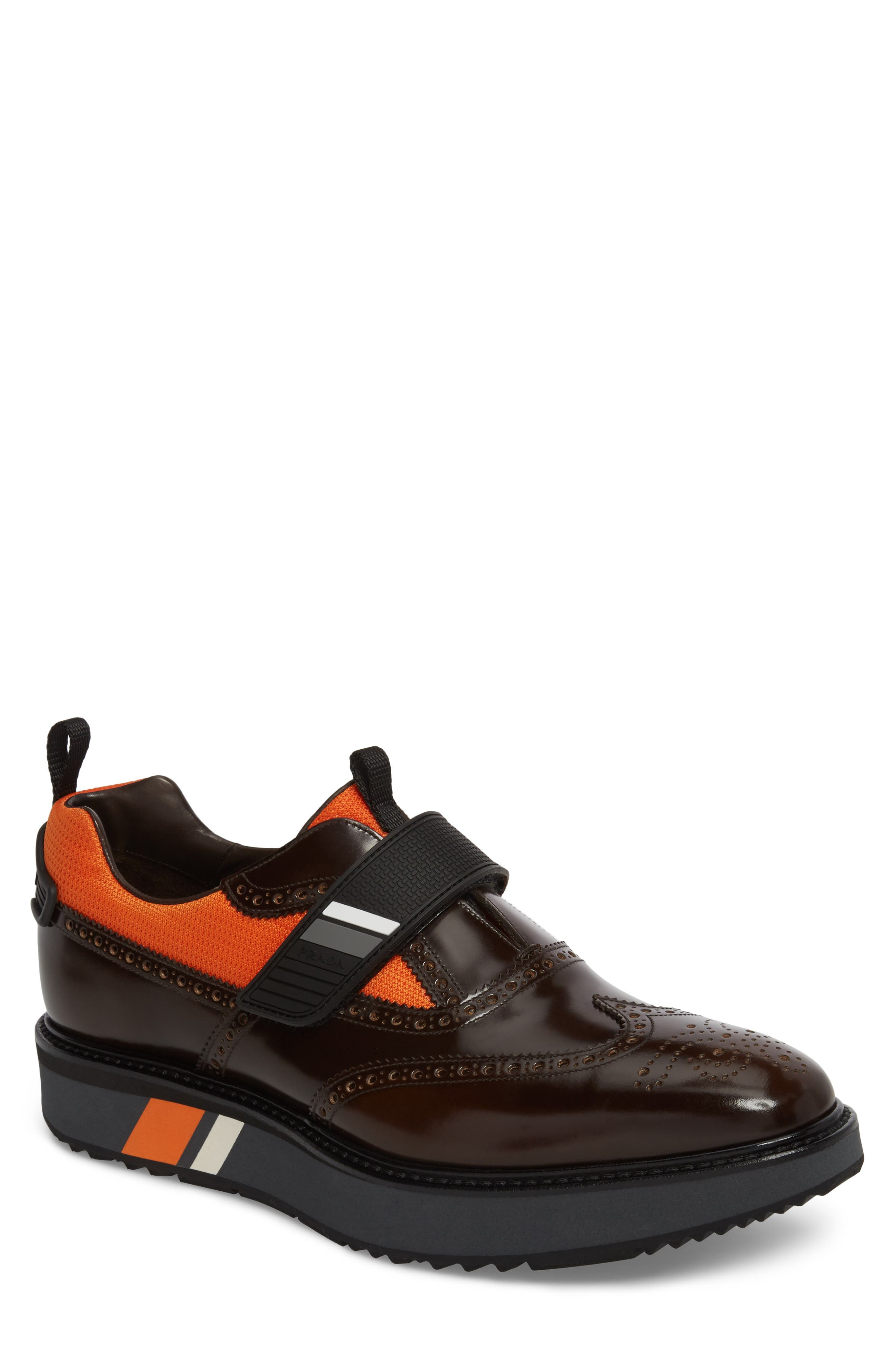 Prada Strap Wingtip Sneaker (Men)