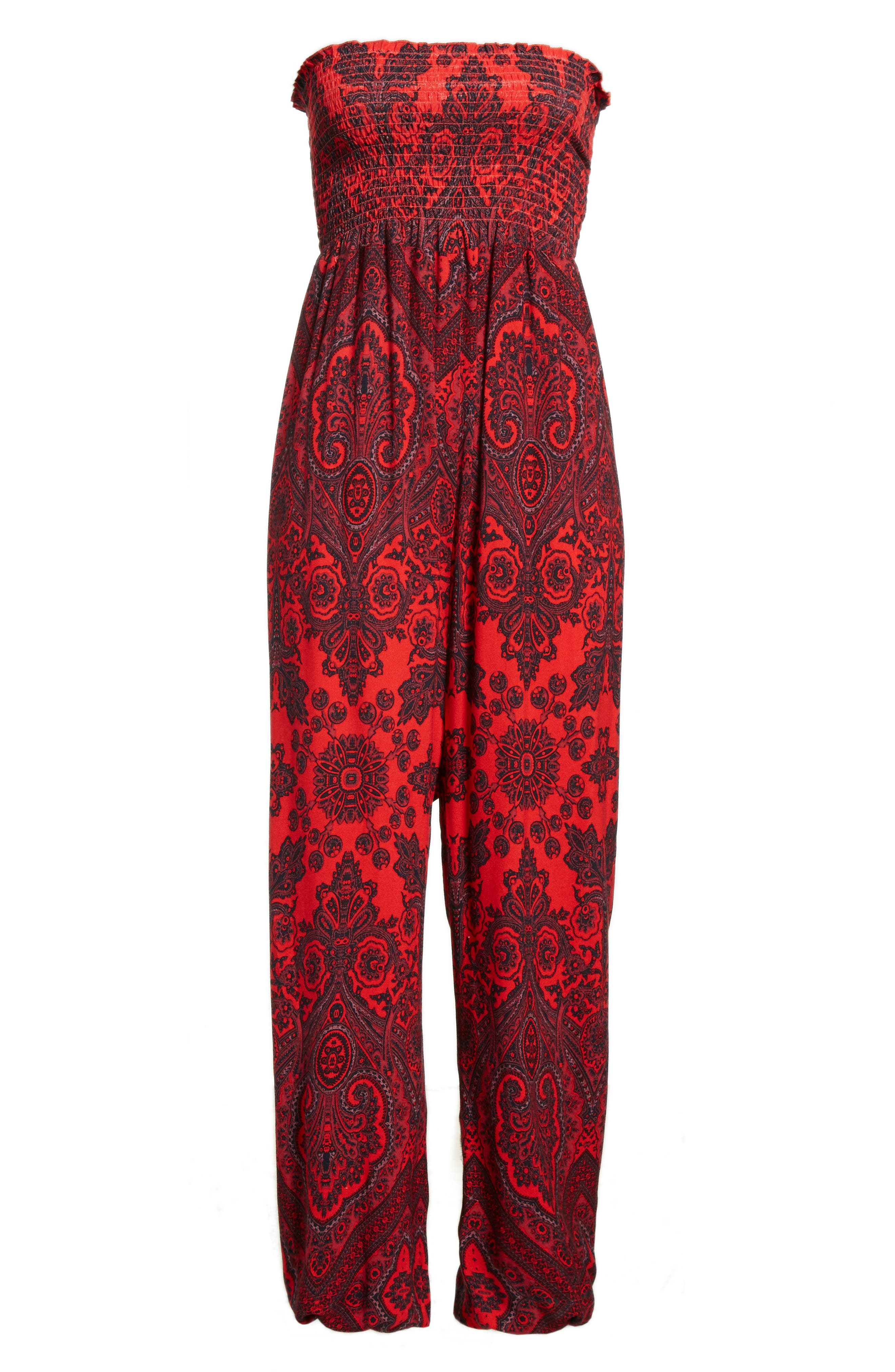 Thinking of You Smocked Jumpsuit,                             Alternate thumbnail 6, color,                             Red Combo