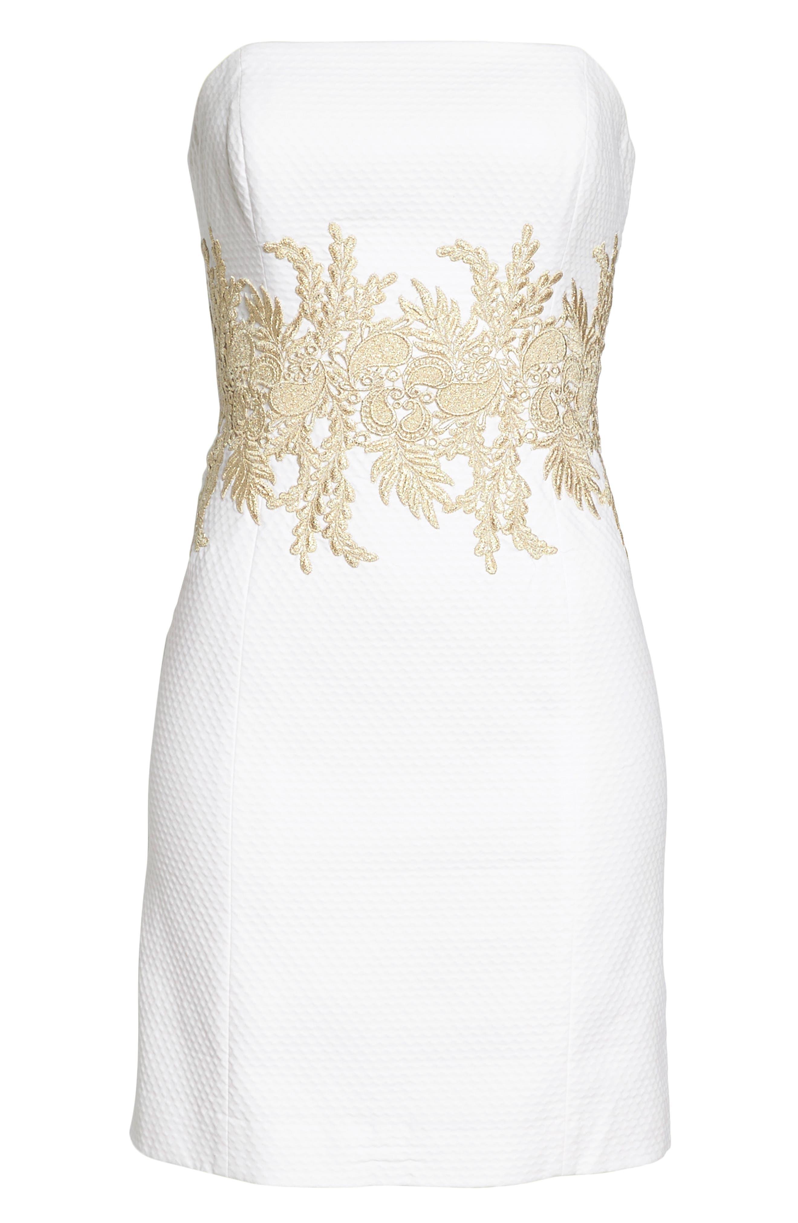 Kade Strapless Dress,                             Alternate thumbnail 6, color,                             Resort White