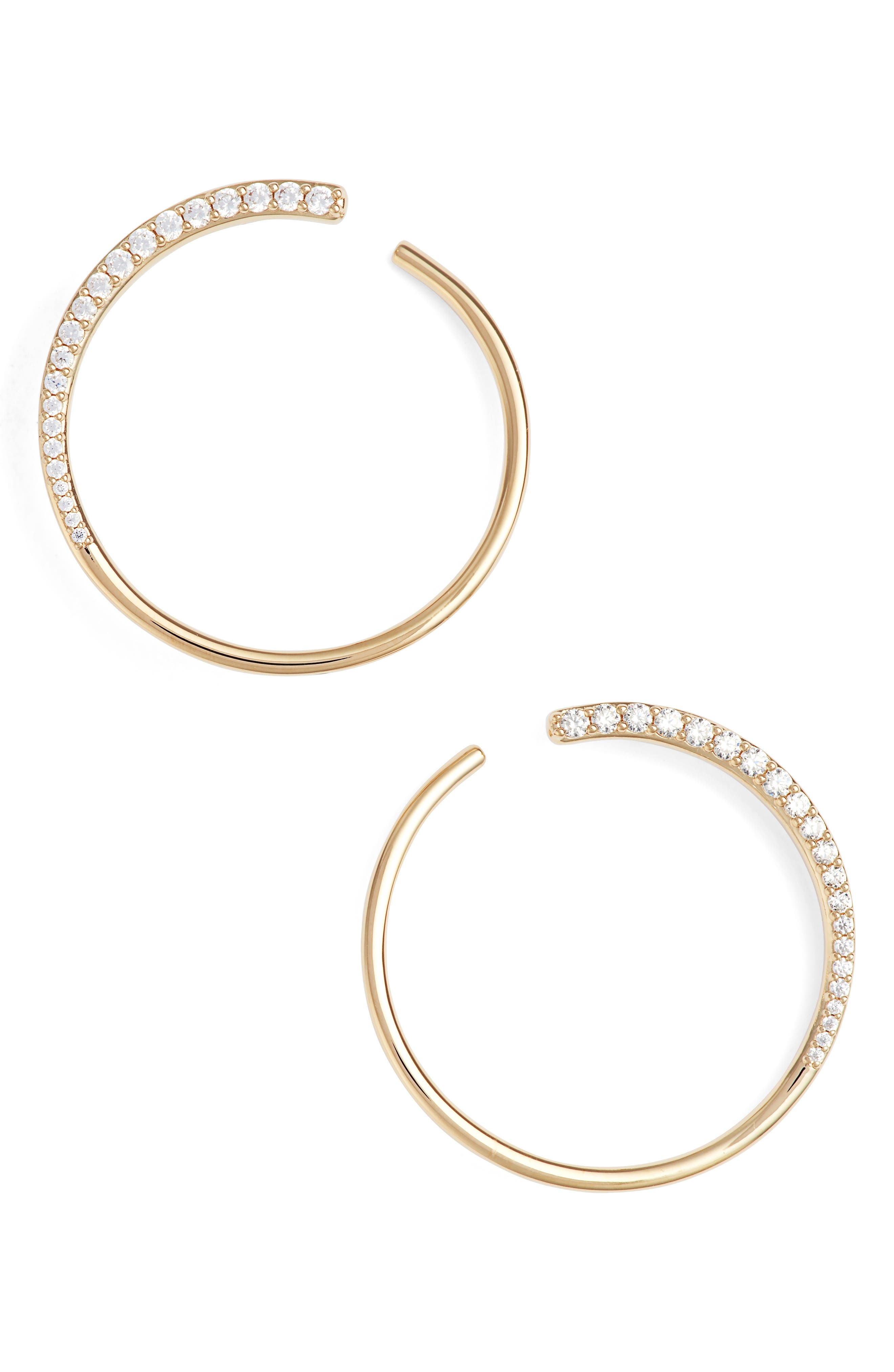 Half Sparkle Hoops,                             Main thumbnail 1, color,                             Gold/ Clear