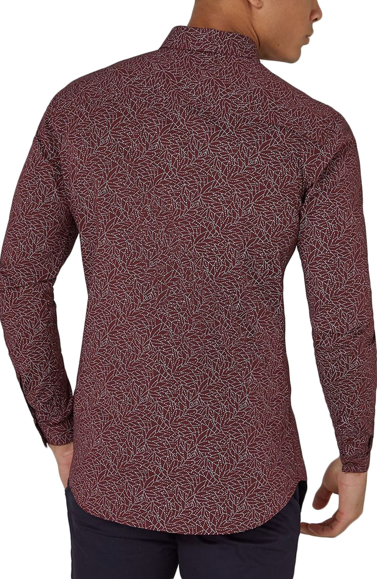Muscle Fit Line Print Sport Shirt,                             Alternate thumbnail 3, color,                             Burgundy Multi