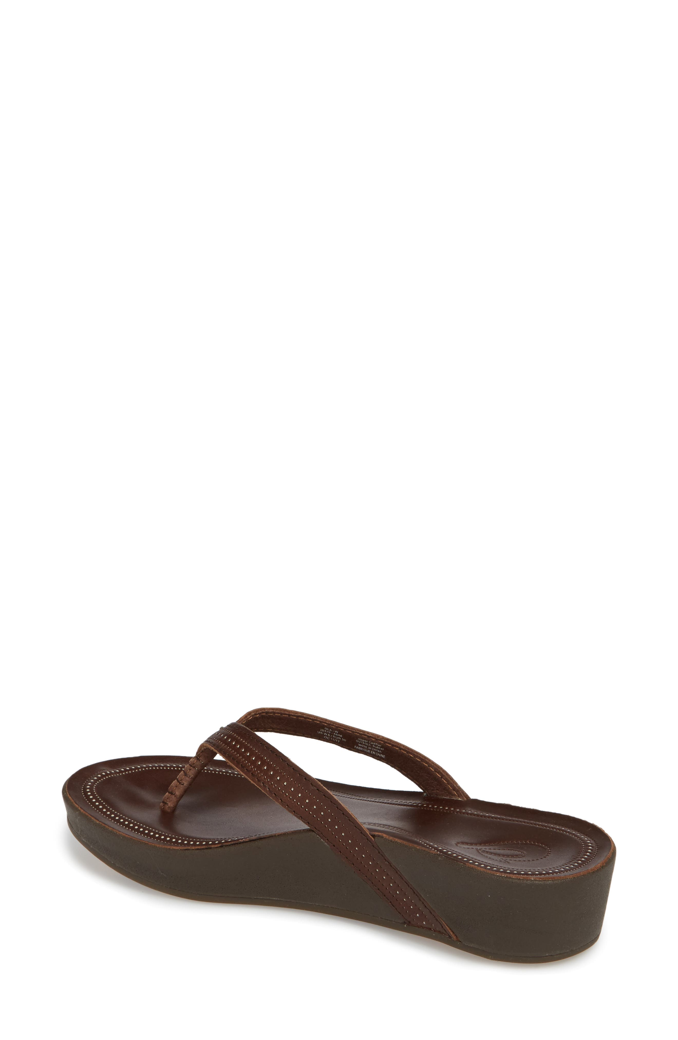 Ola Flip Flop,                             Alternate thumbnail 2, color,                             Dark Java/ Dark Java Leather