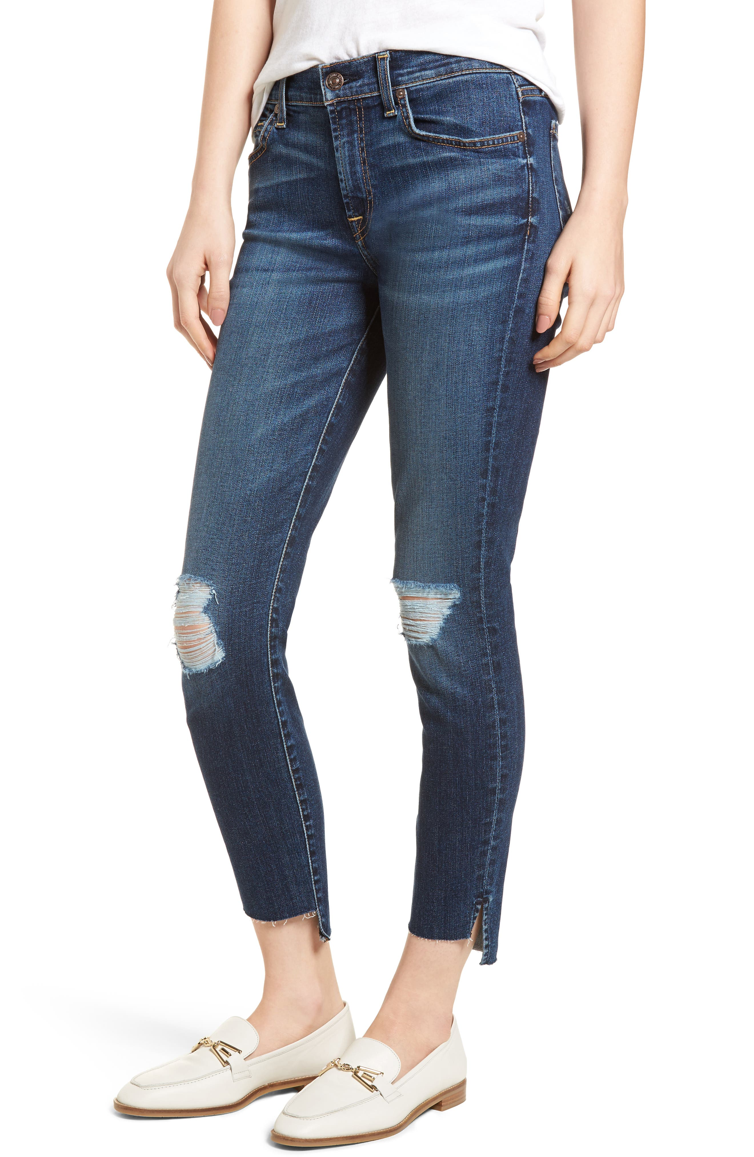 7 For All Mankind® The Ankle Skinny Ripped Step Hem Jeans (Midnight Desert 2)