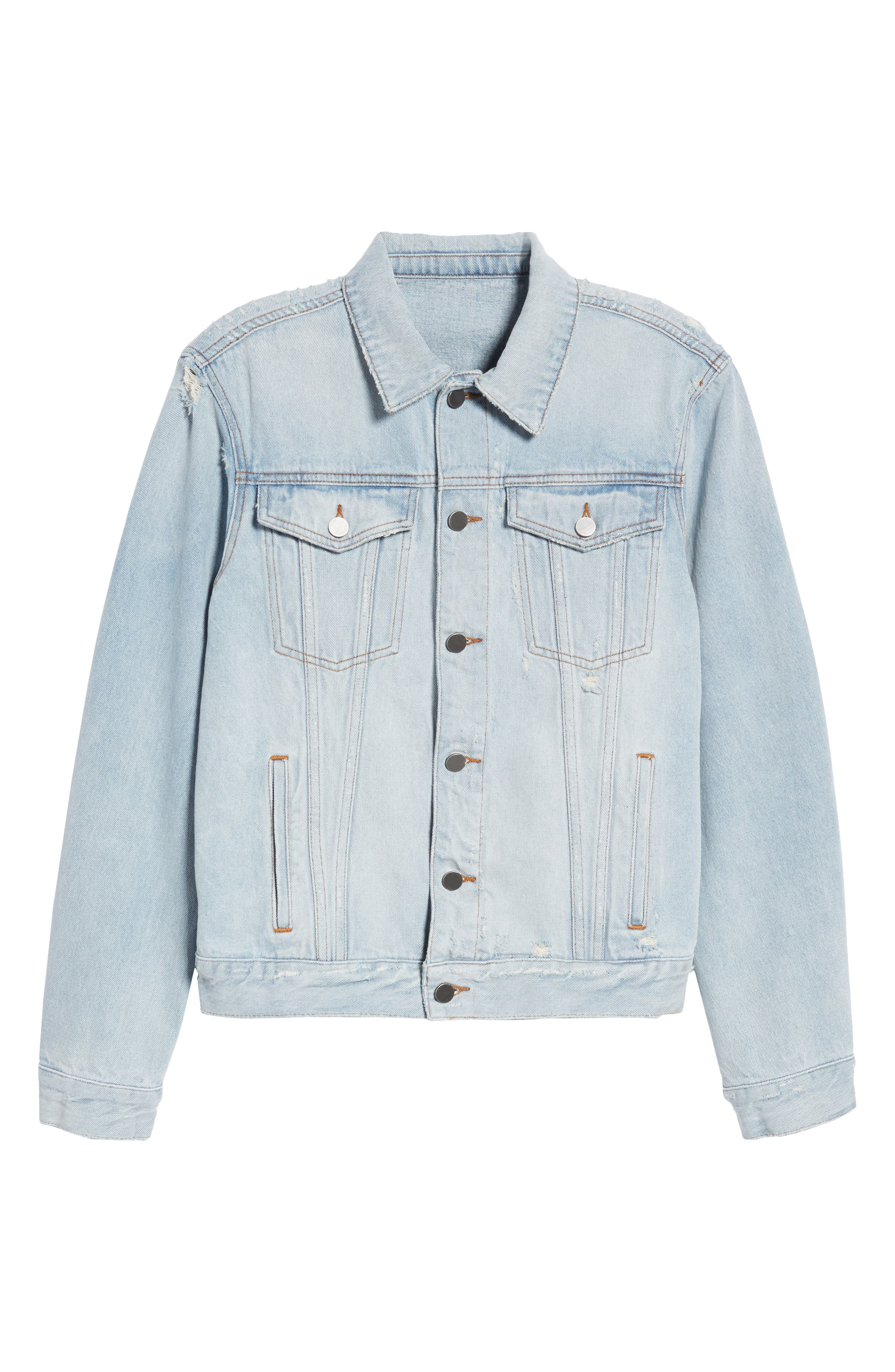 Destroyed Trucker Jacket,                             Alternate thumbnail 6, color,                             Light Blue Wash