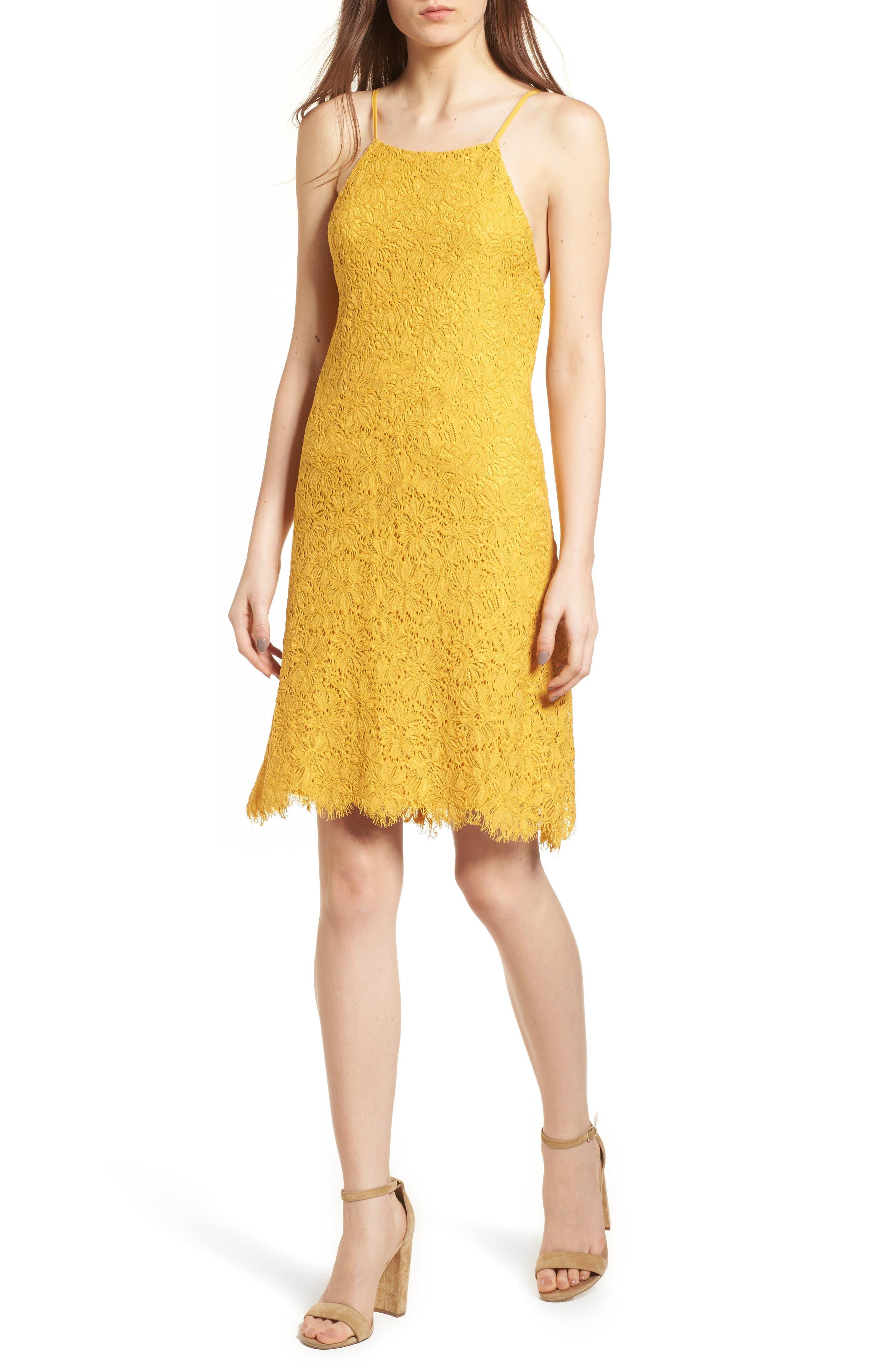 Lace Shift Dress,                         Main,                         color, Mustard