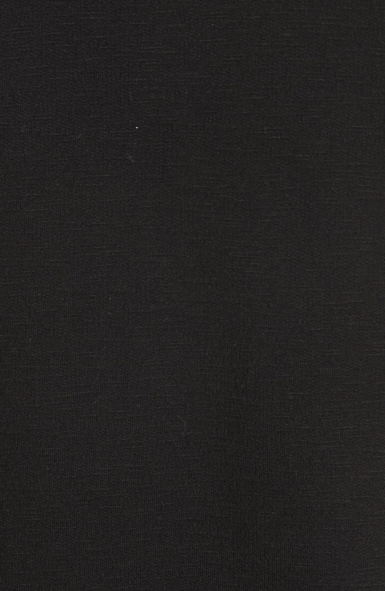Bow Sleeve Midi Dress,                             Alternate thumbnail 5, color,                             Black