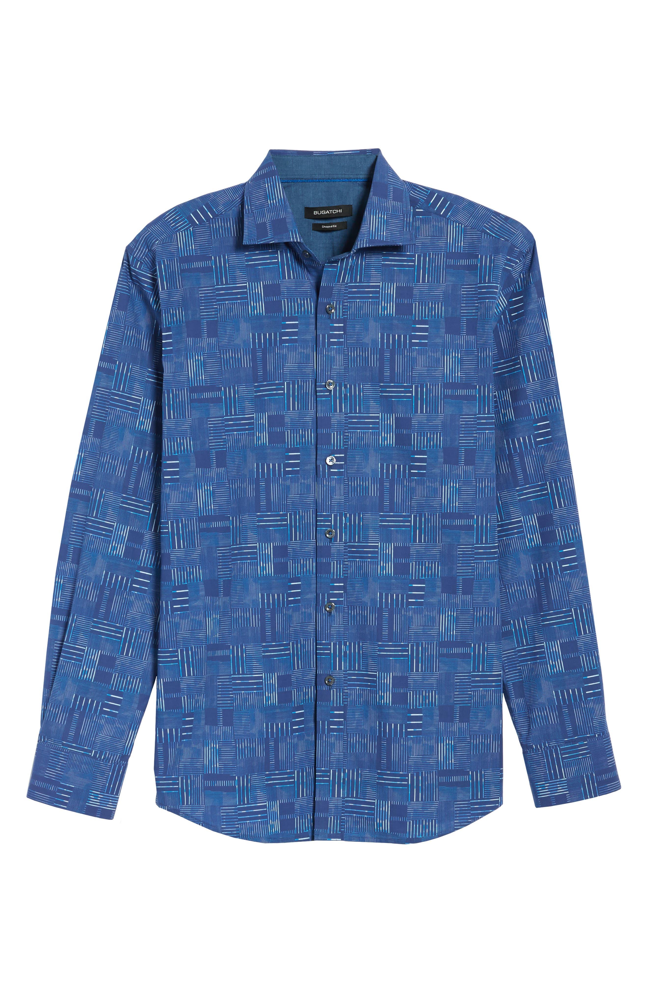Shaped Fit Patchwork Plaid Sport Shirt,                             Alternate thumbnail 6, color,                             Classic Blue