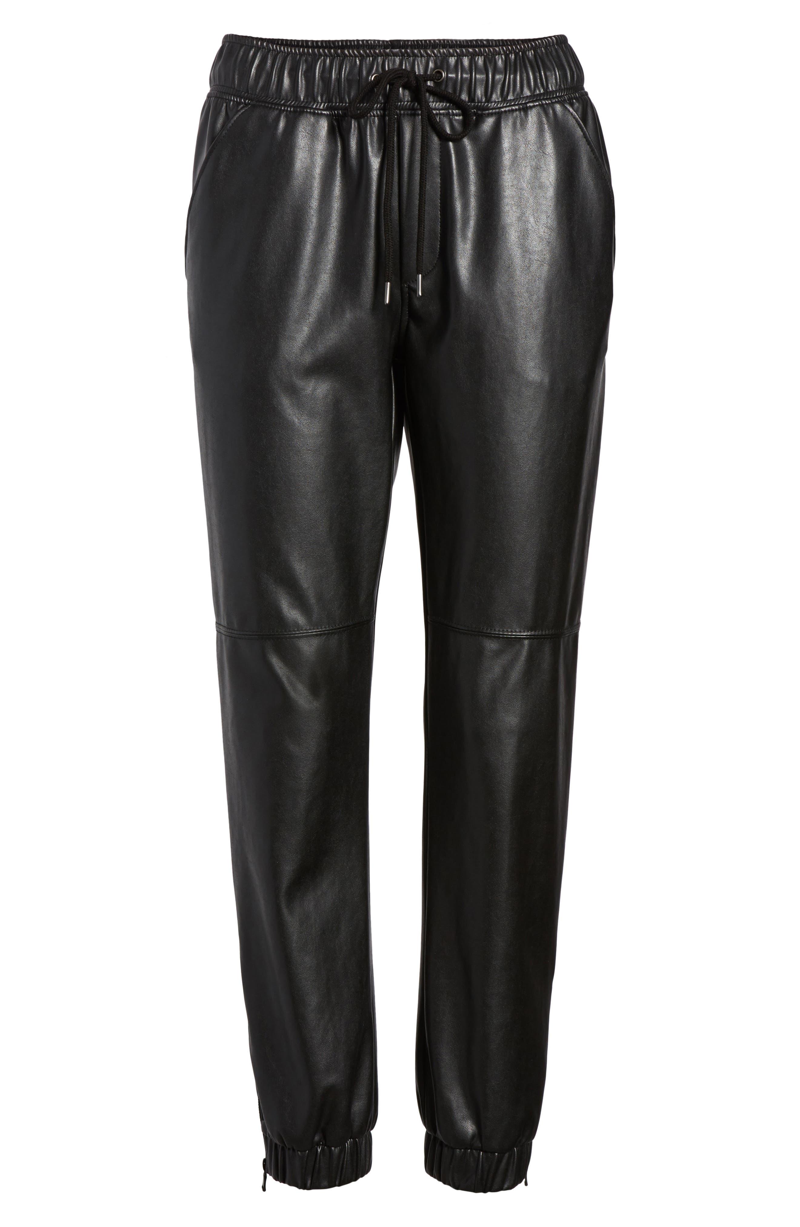 Ankle Zip Jogger Pants,                             Alternate thumbnail 6, color,                             Black