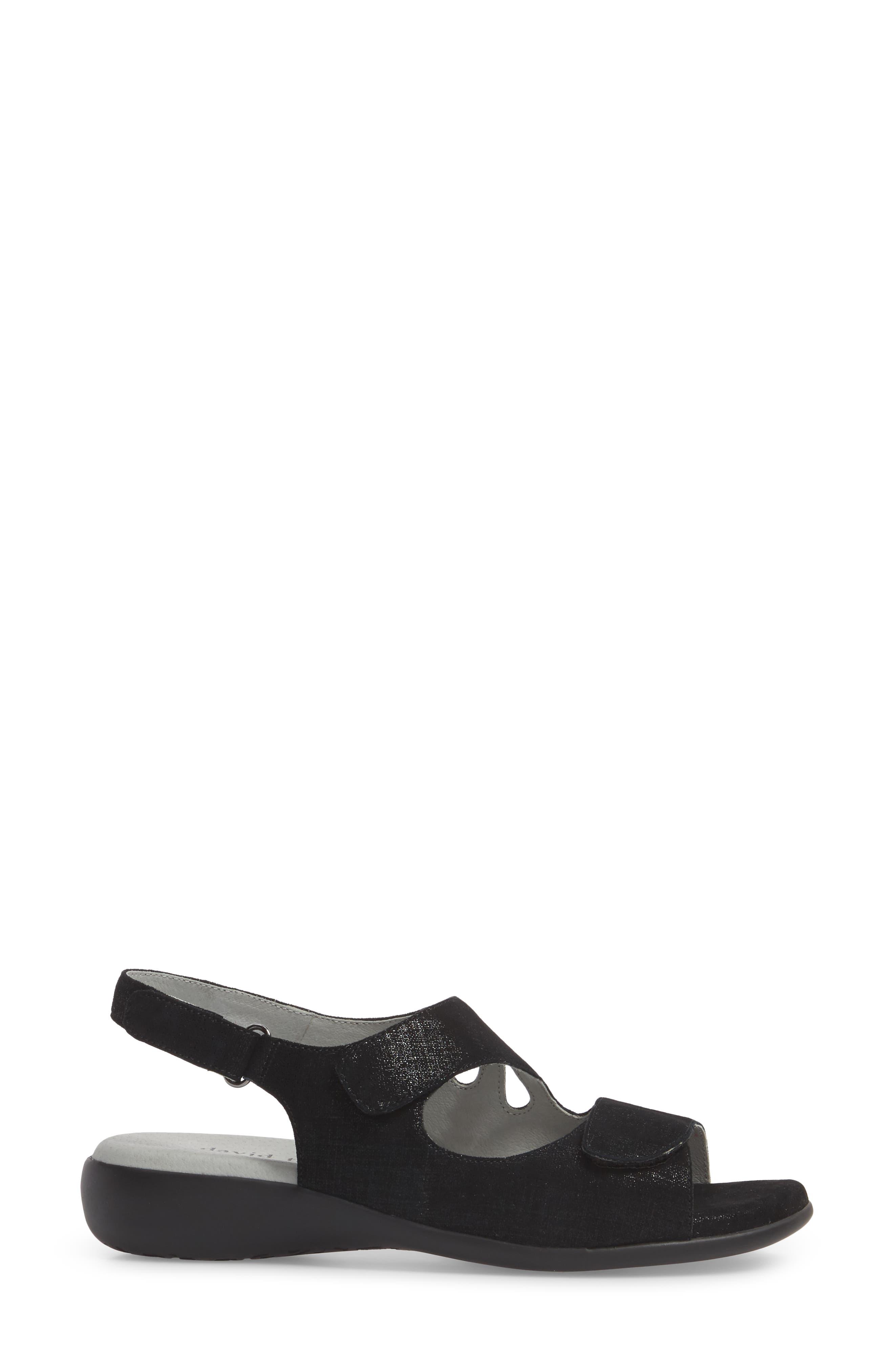 Lilly Slingback Sandal,                             Alternate thumbnail 3, color,                             Black Leather