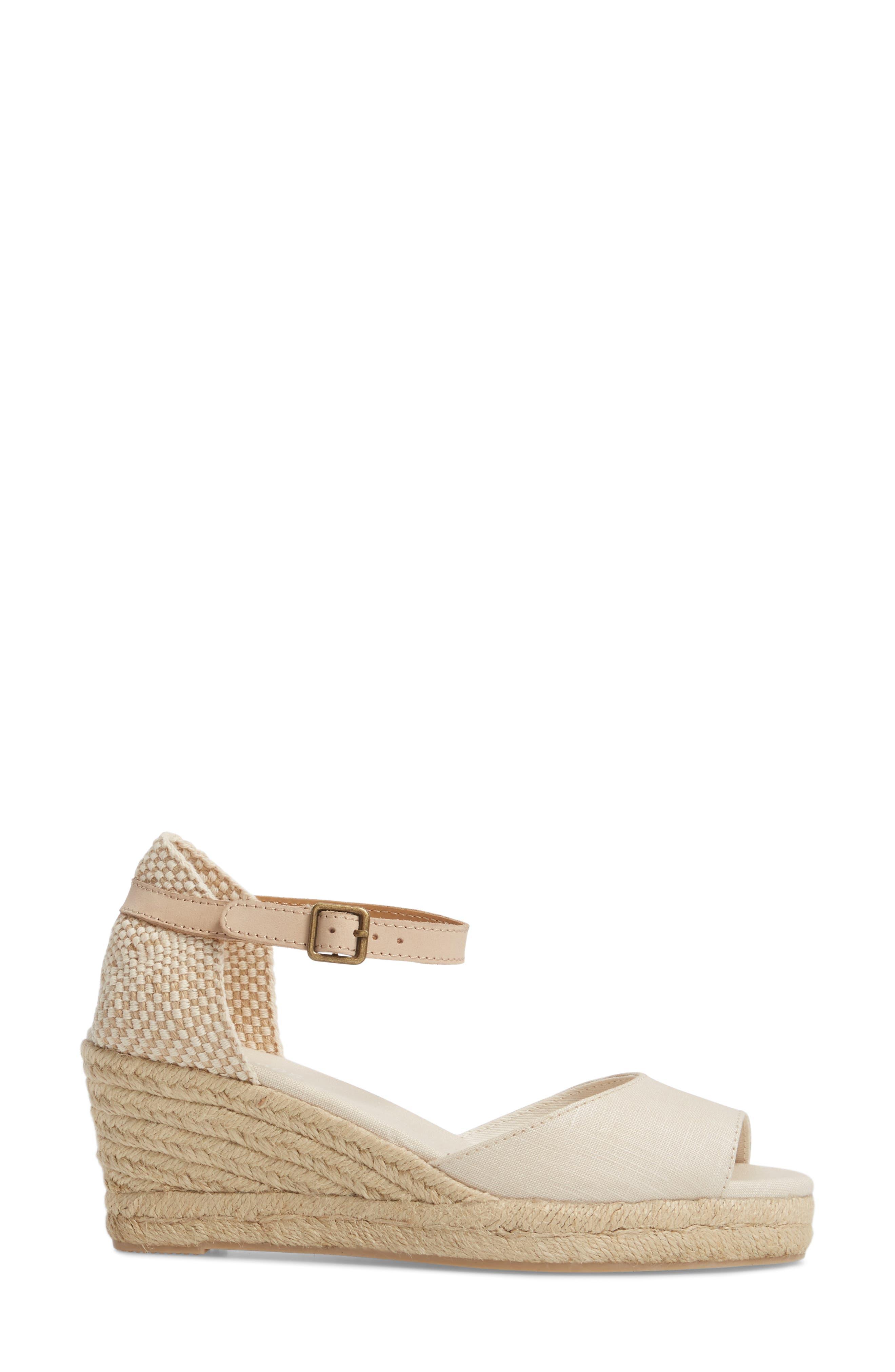 Espadrille Wedge Sandal,                             Alternate thumbnail 3, color,                             Blush Fabric