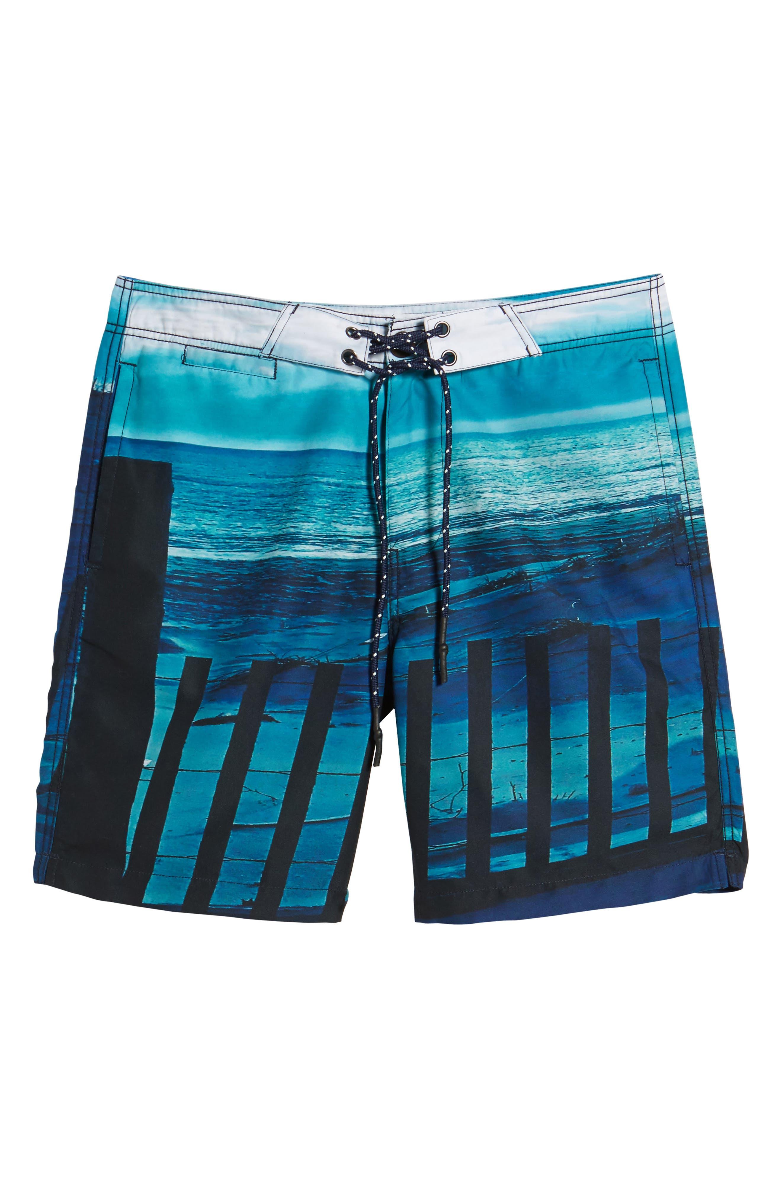 Beach Fence Photo Real Board Shorts,                             Alternate thumbnail 6, color,                             Beach