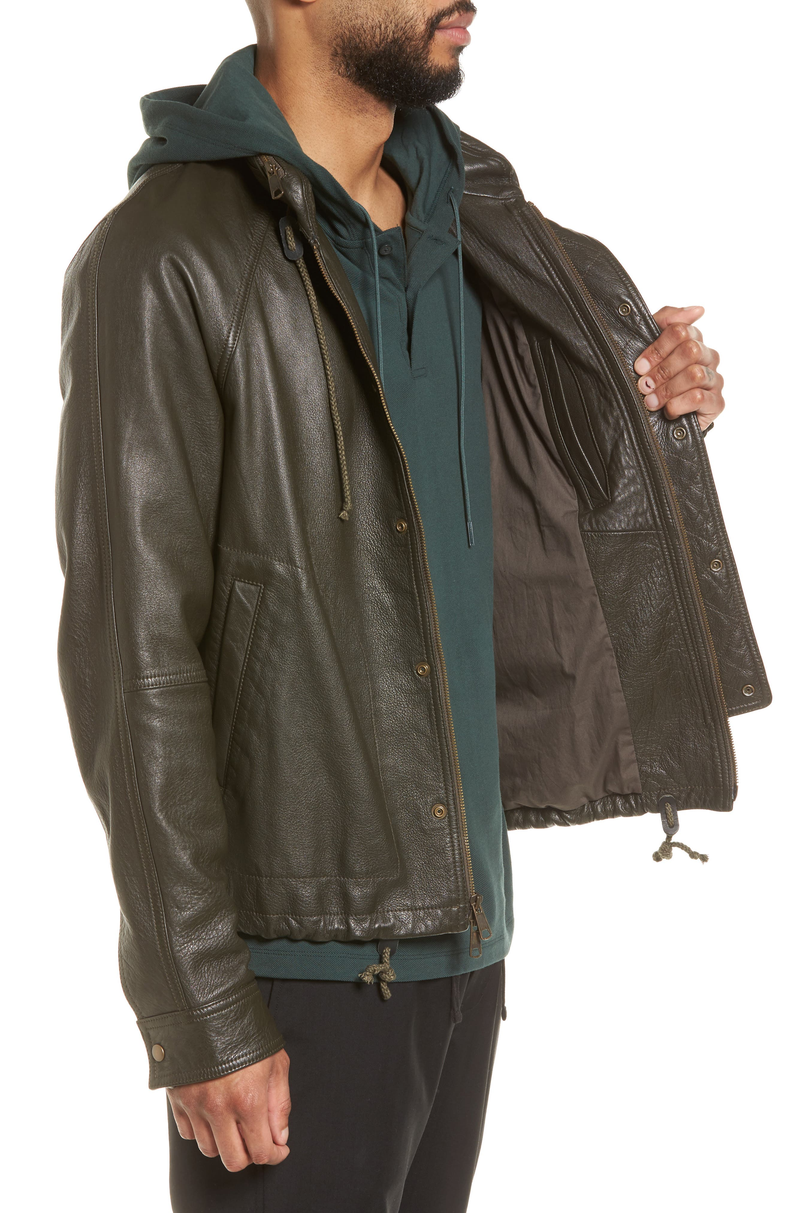 Slim Fit Lambskin Leather Parka,                             Alternate thumbnail 3, color,                             Olive