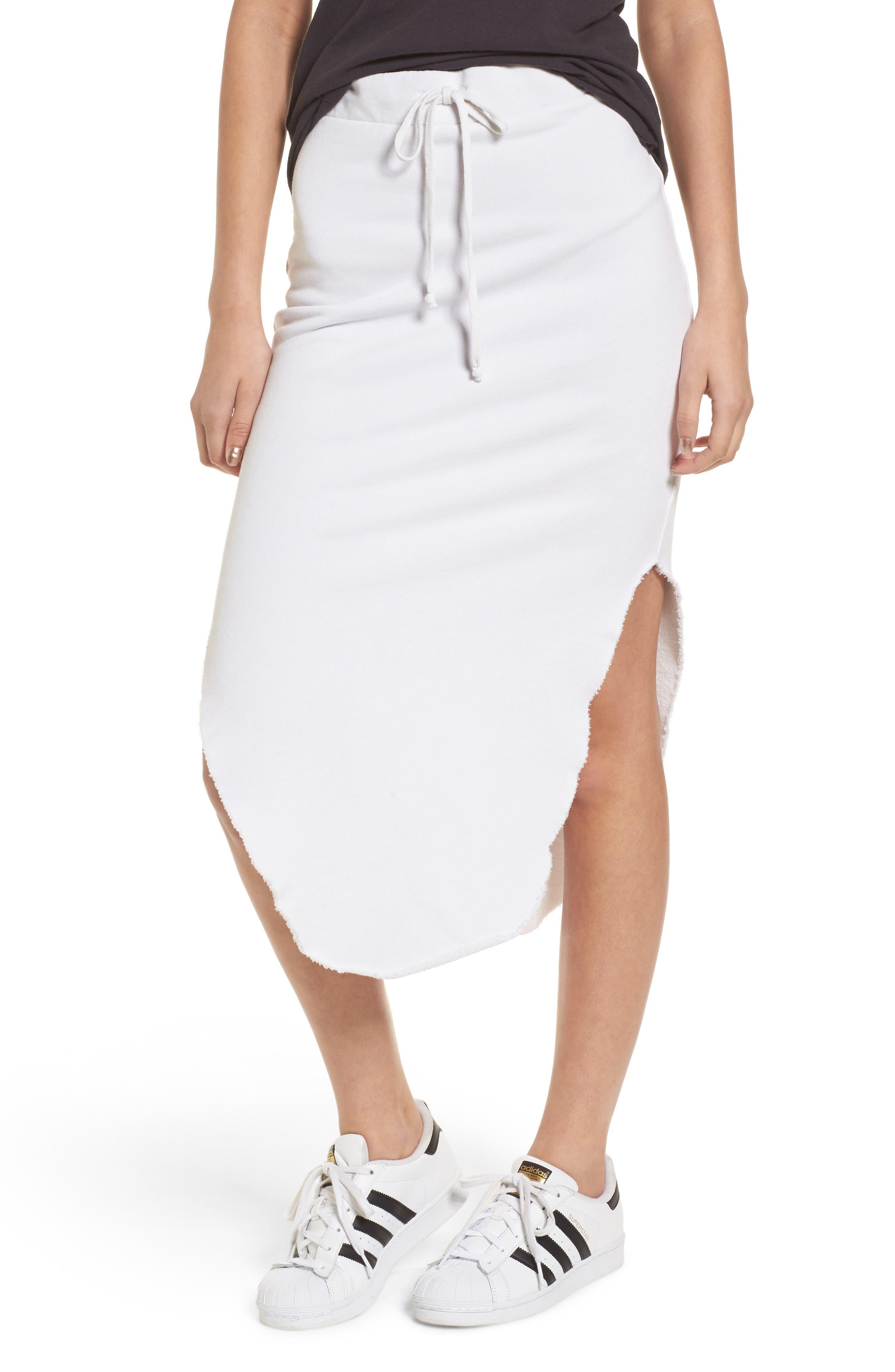 Midi Fleece Skirt,                             Main thumbnail 1, color,                             Dirty White
