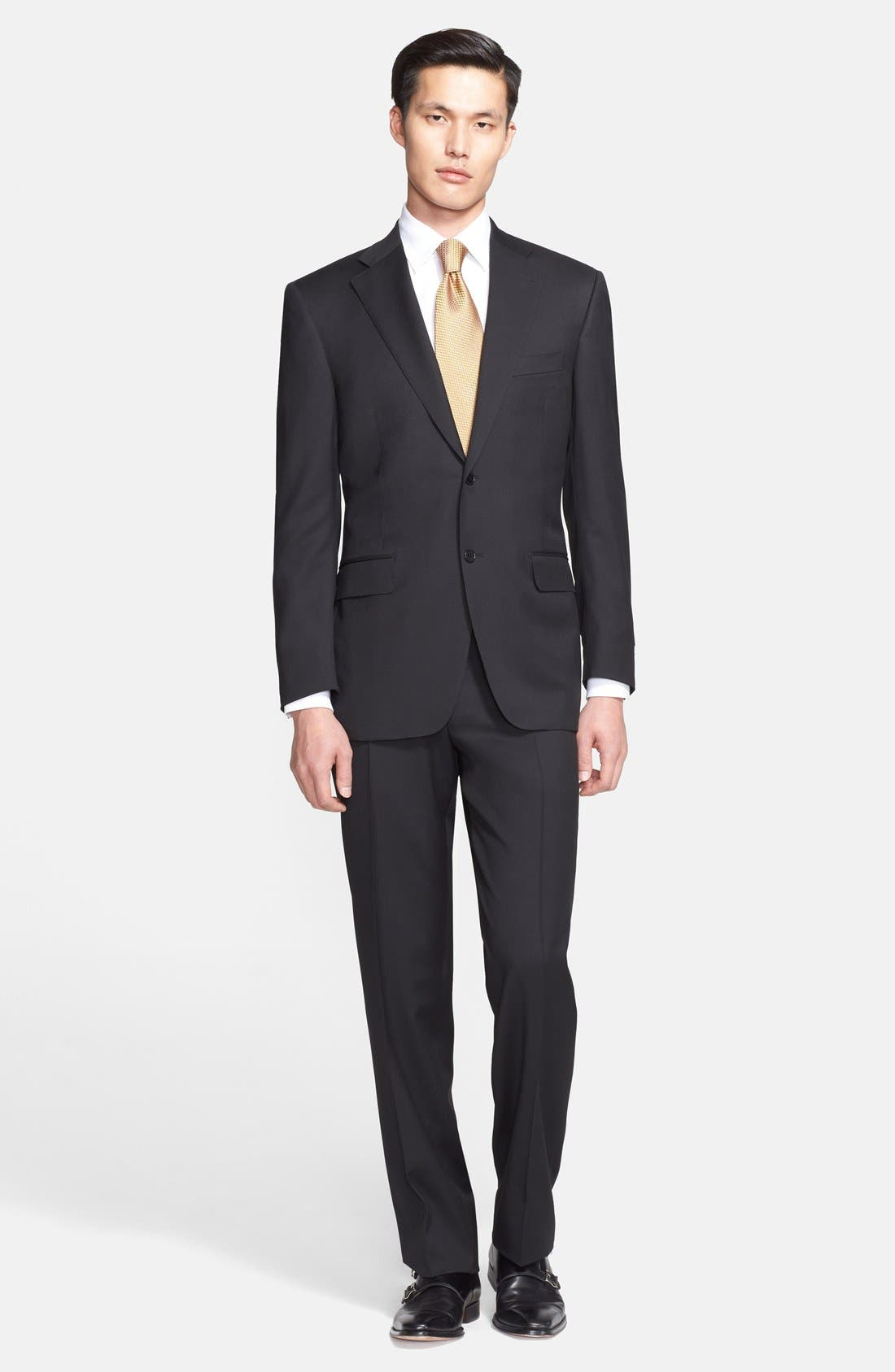 Classic Fit Solid Wool Suit,                             Main thumbnail 1, color,                             Black