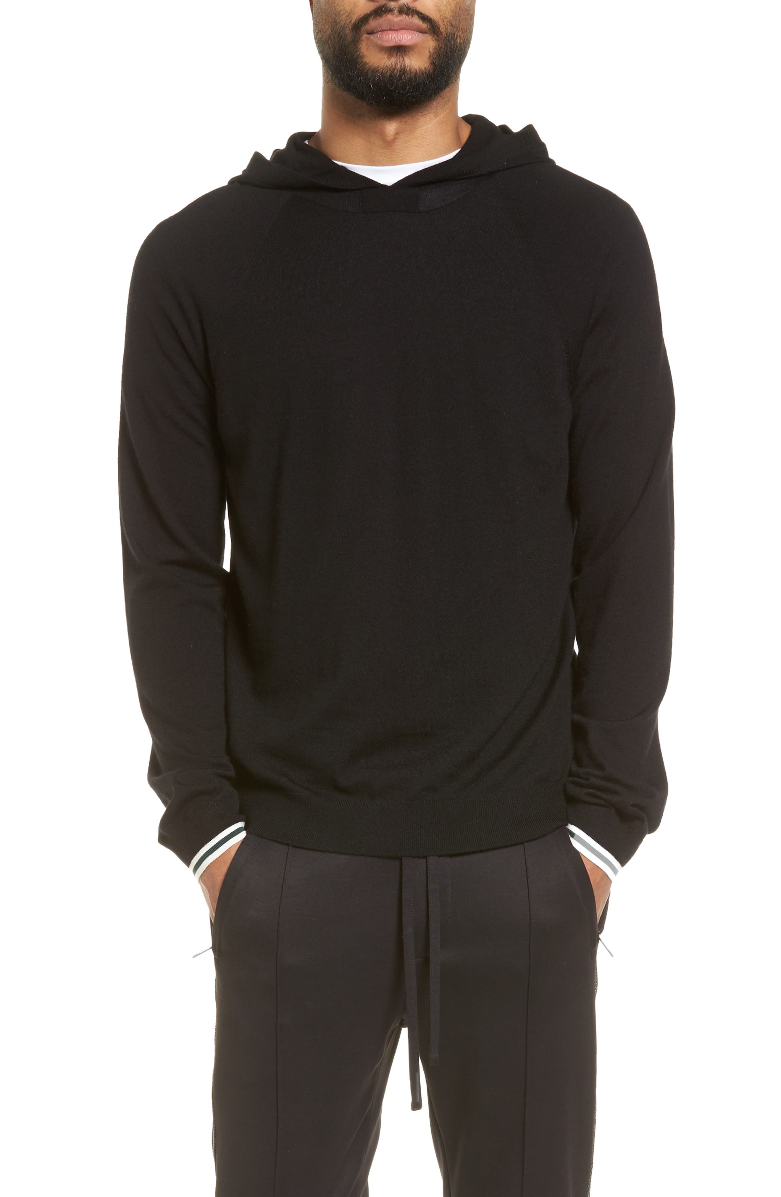Wool & Cashmere Hoodie,                         Main,                         color, Black