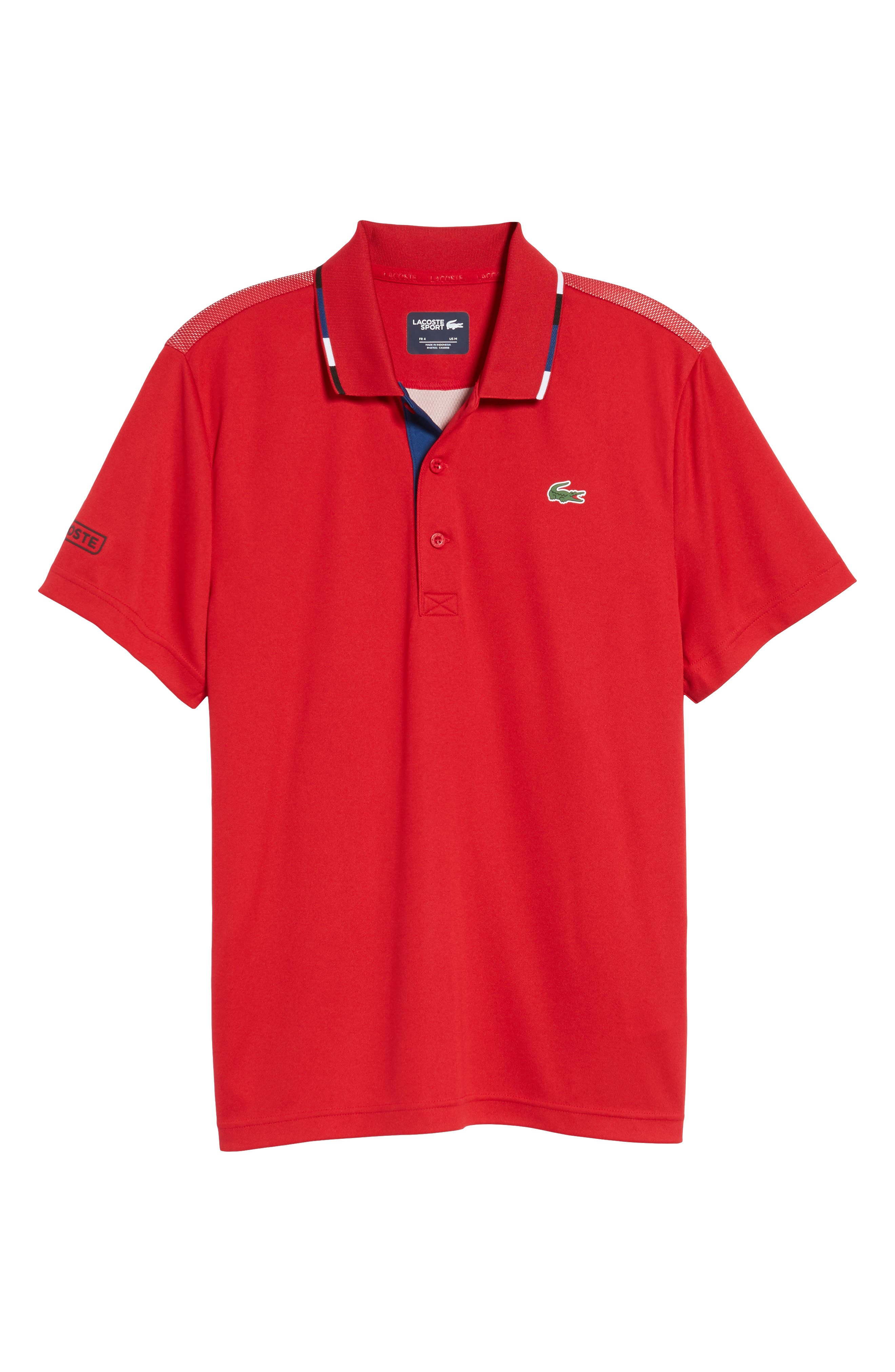 Sport Piped Piqué Tech Polo,                             Alternate thumbnail 6, color,                             Red/ Marino-Black-White
