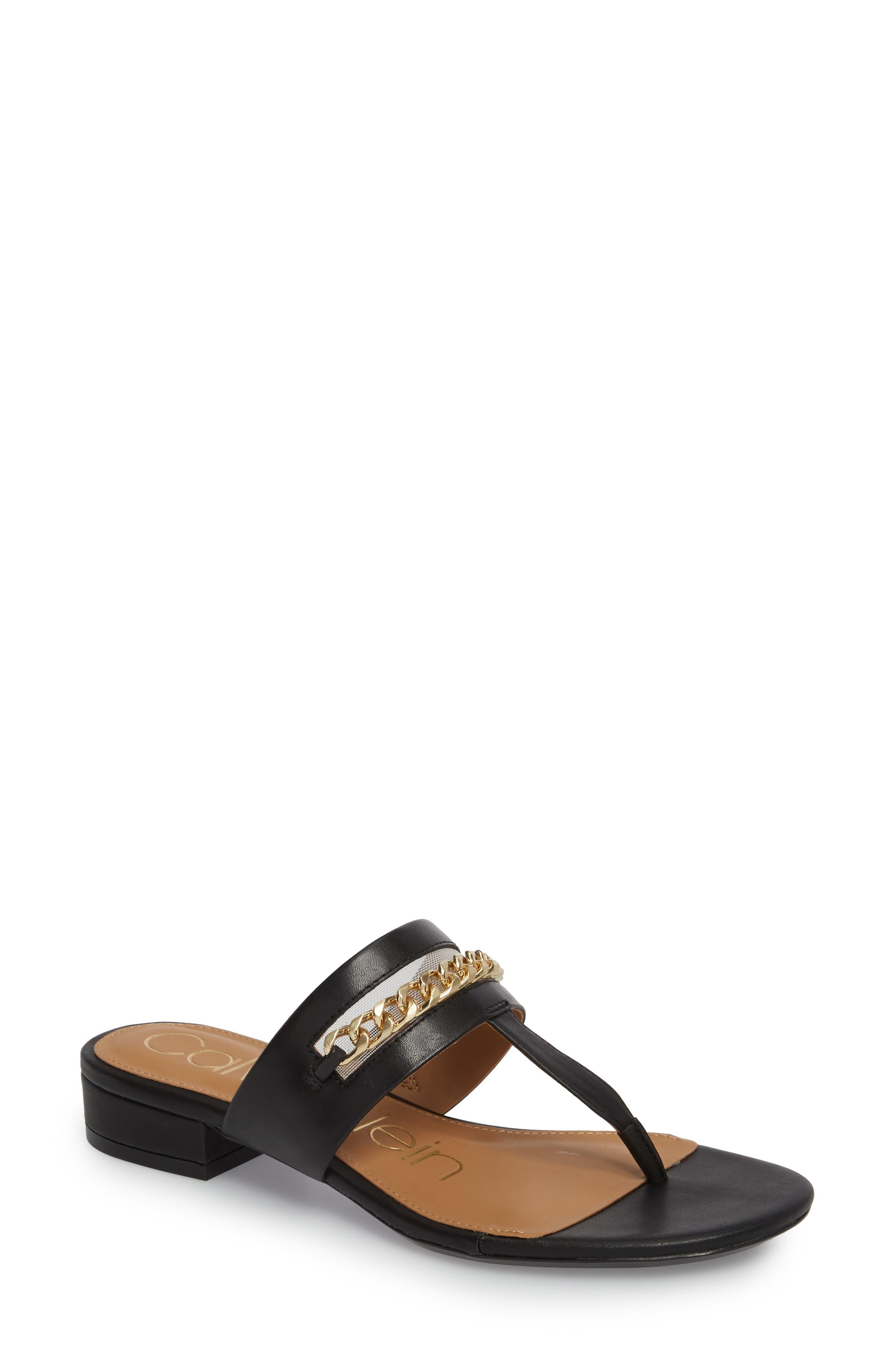 Francie Sandal,                         Main,                         color, Black Leather