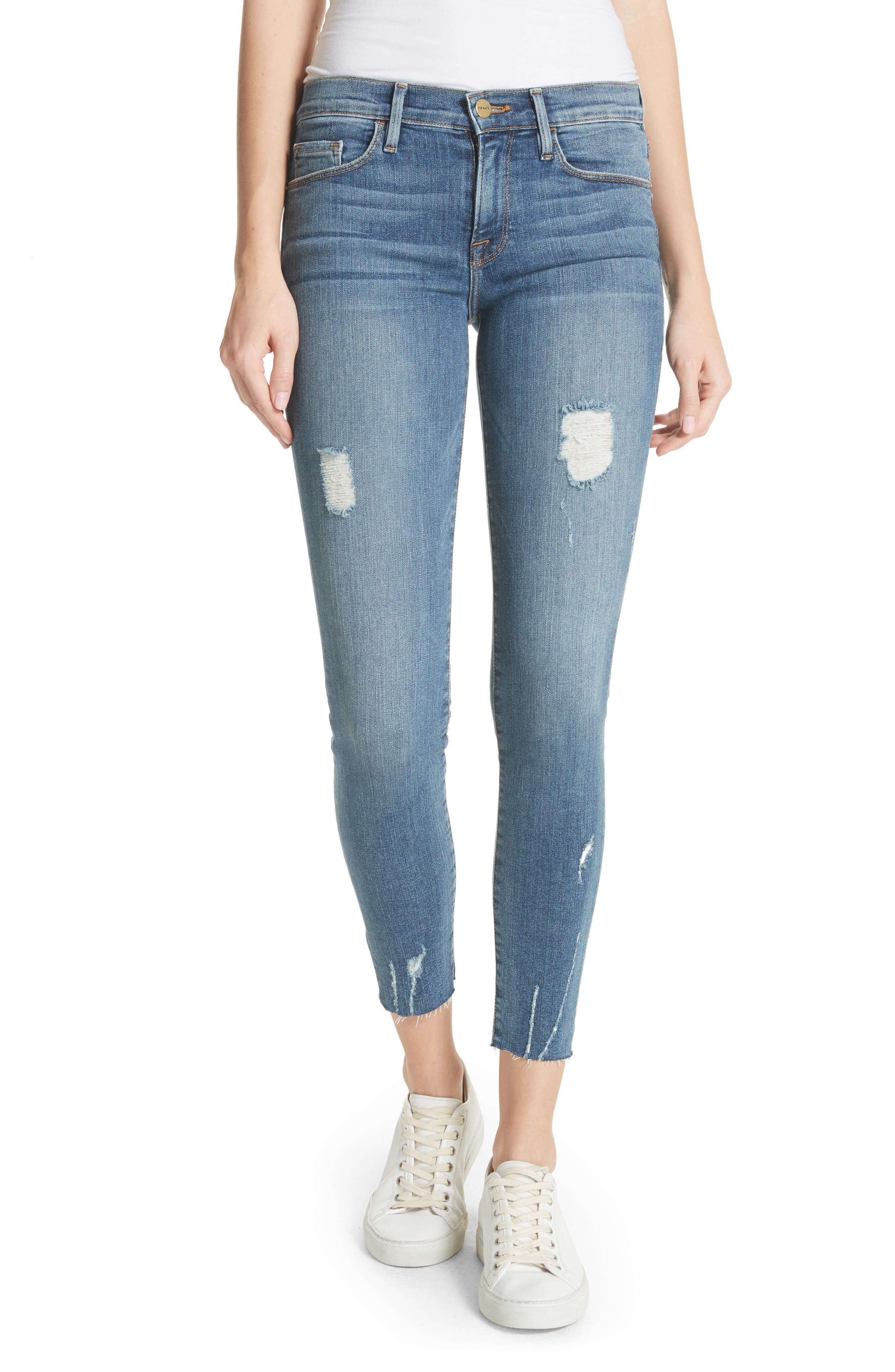 Le Skinny de Jeanne Raw Edge Ankle Jeans,                         Main,                         color, Sedgwick