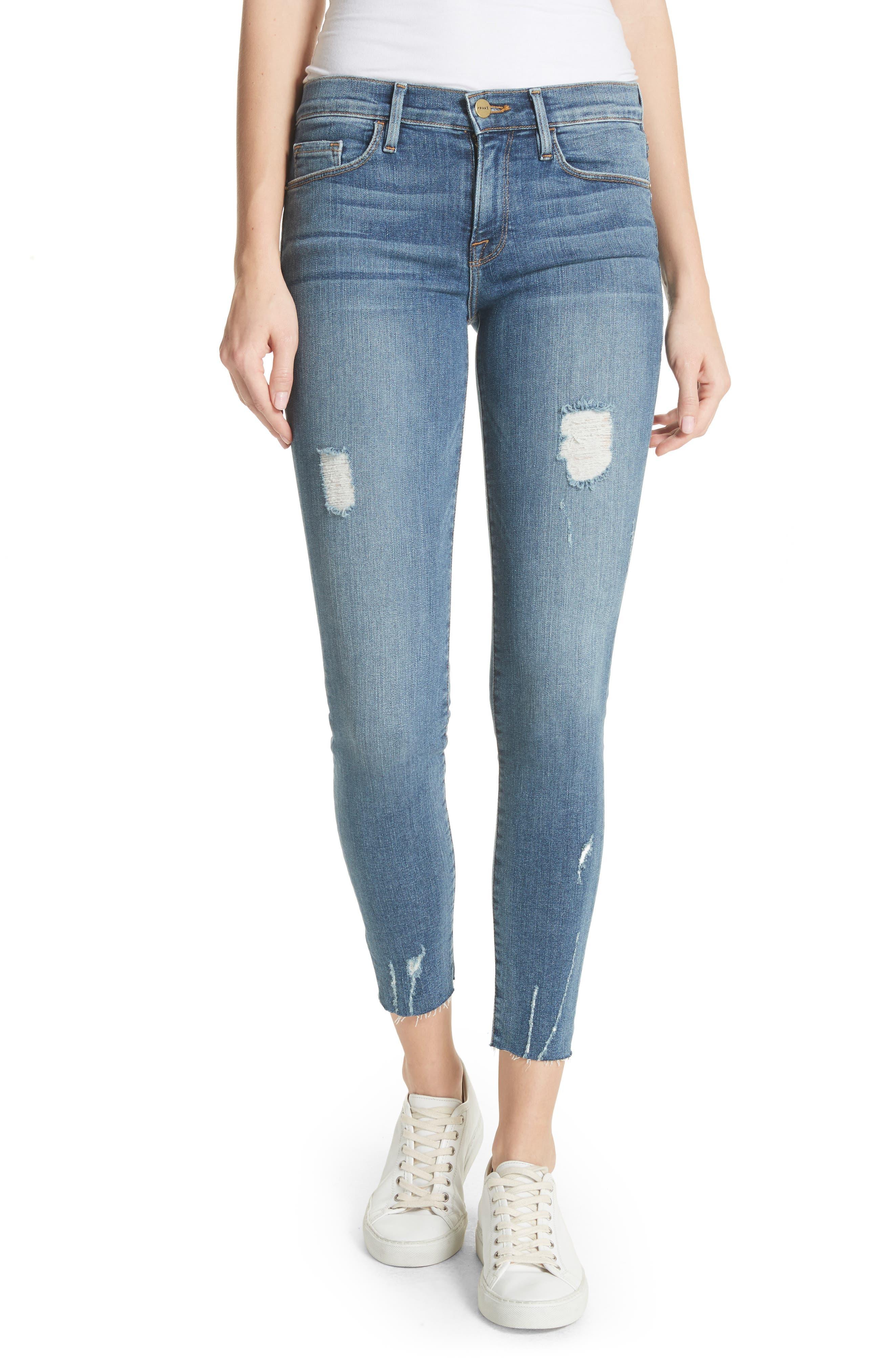 FRAME Le Skinny de Jeanne Raw Edge Ankle Jeans (Sedgwick)