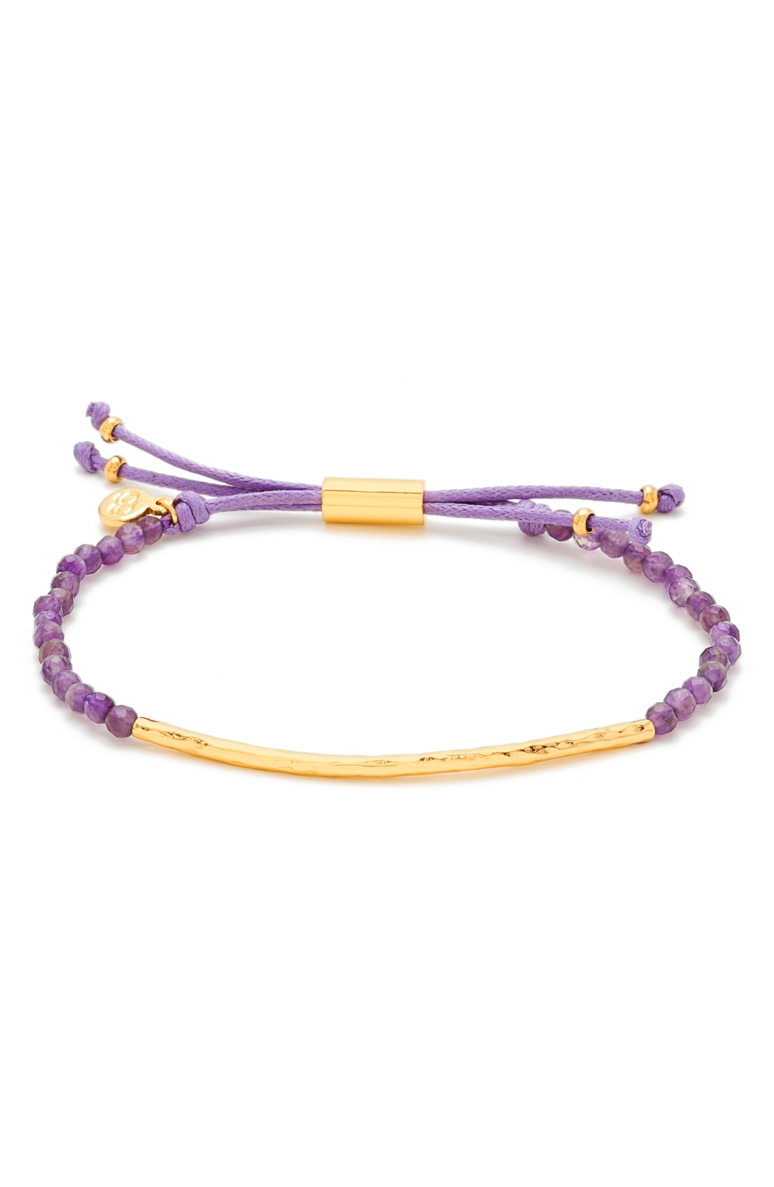 Power Gemstone Beaded Bracelet,                             Main thumbnail 1, color,                             Amethyst/ Gold