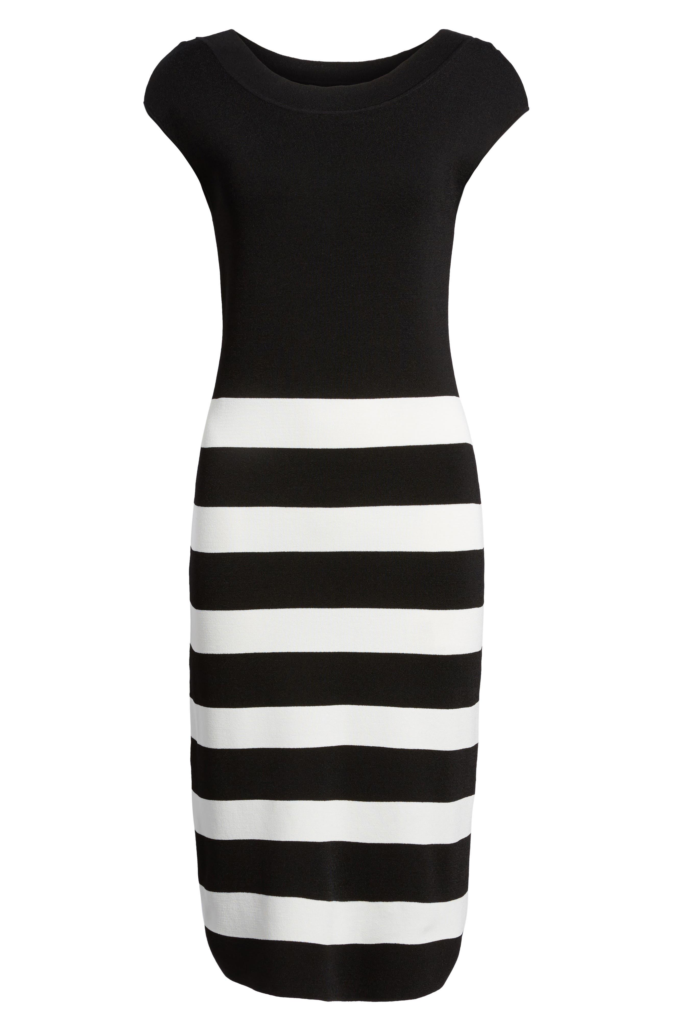 Bow Back Striped Sweater Dress,                             Alternate thumbnail 6, color,                             Black/ White
