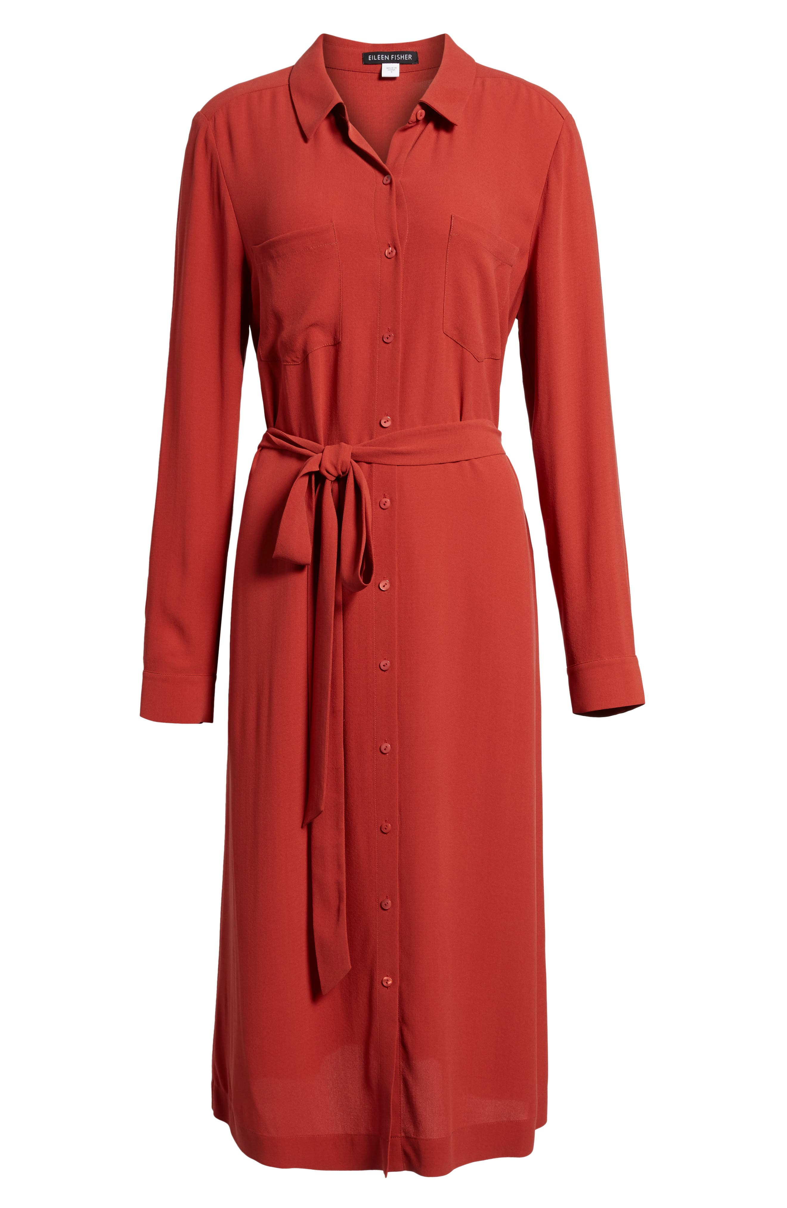 Silk Georgette Crepe Shirtdress,                             Alternate thumbnail 6, color,                             Serrano