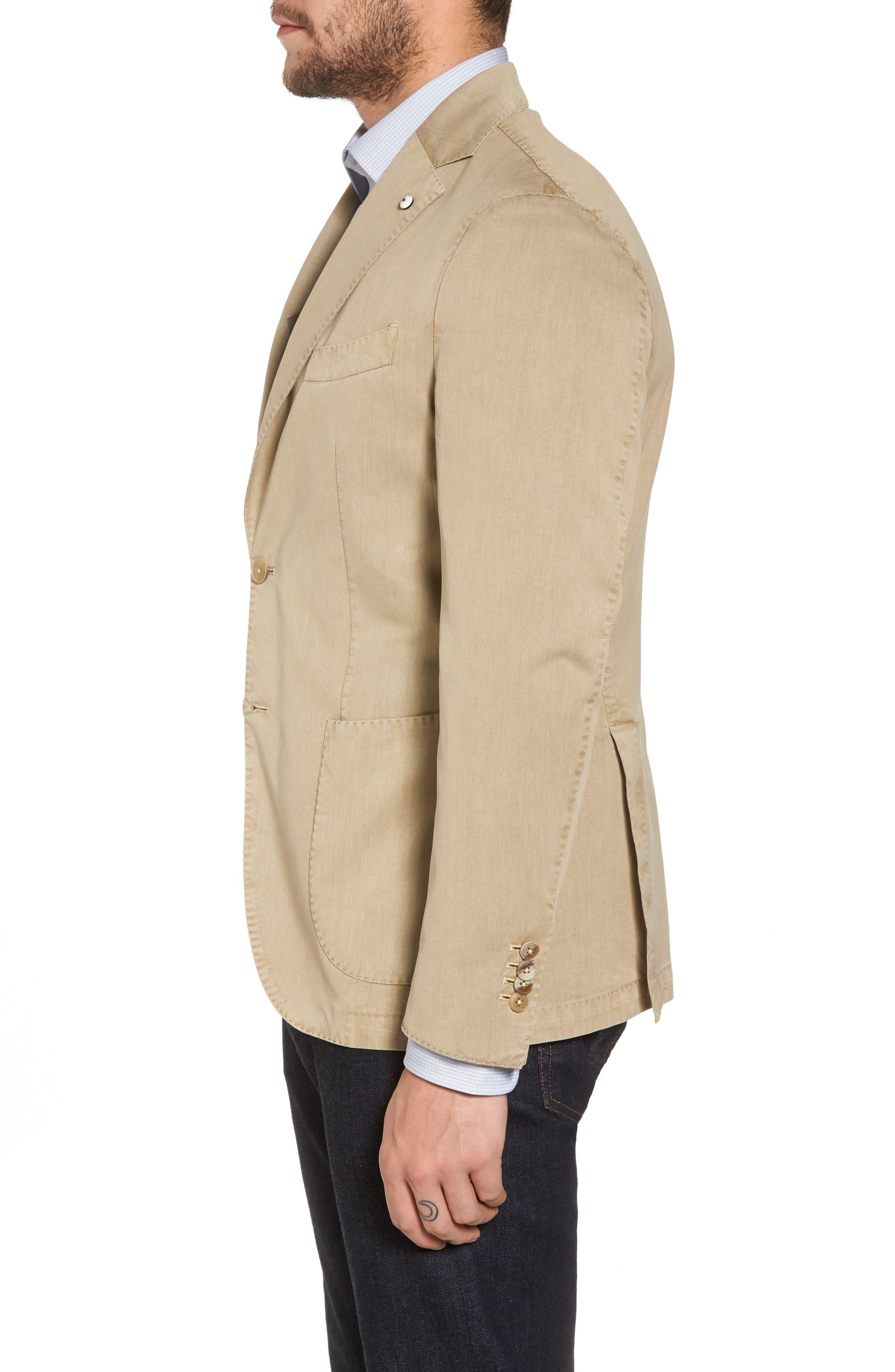 Classic Fit Cotton & Silk Blazer,                             Alternate thumbnail 3, color,                             Beige/ Khaki
