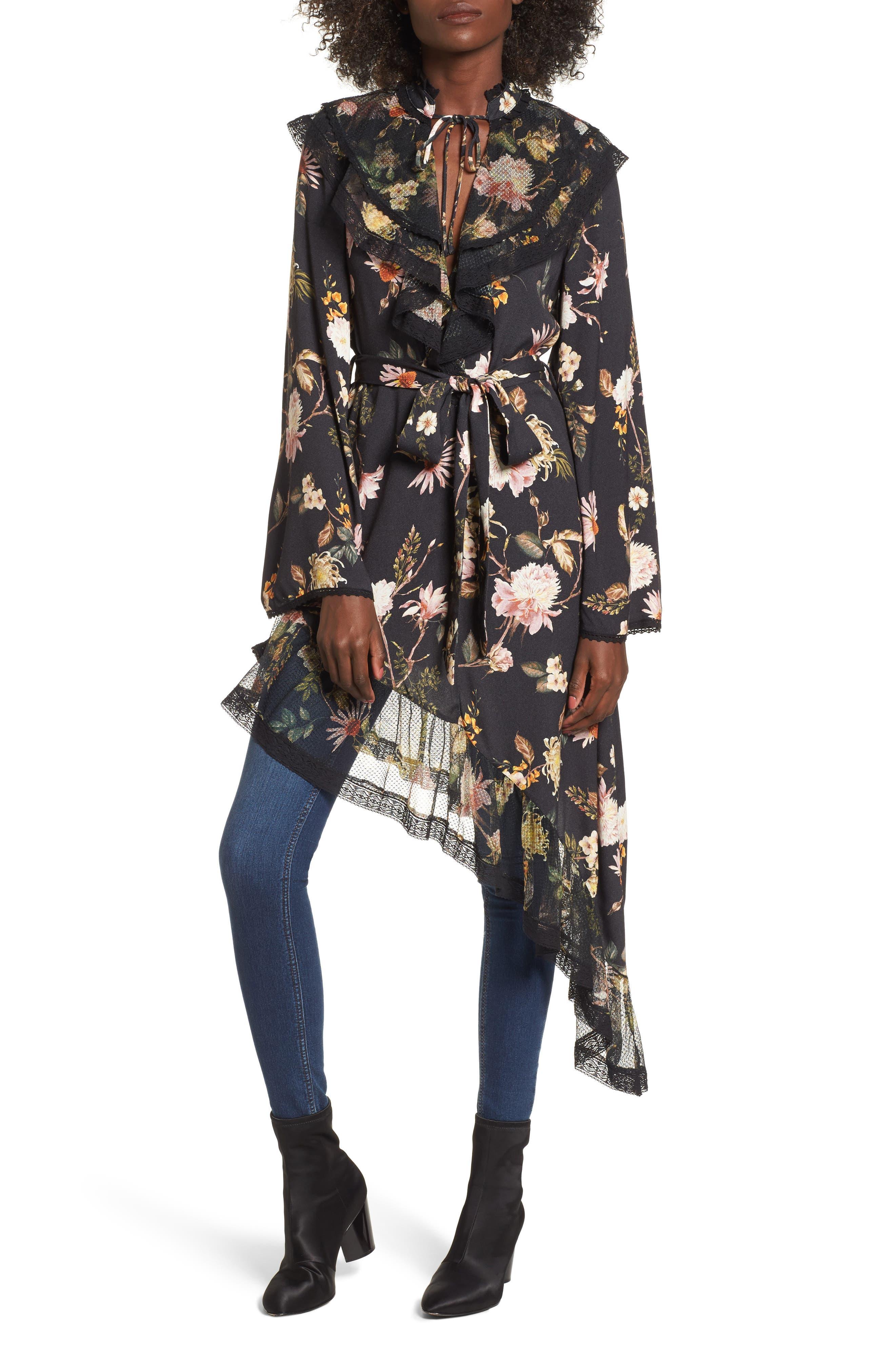 Ray Asymmetrical Midi Dress,                         Main,                         color, Noir Floral